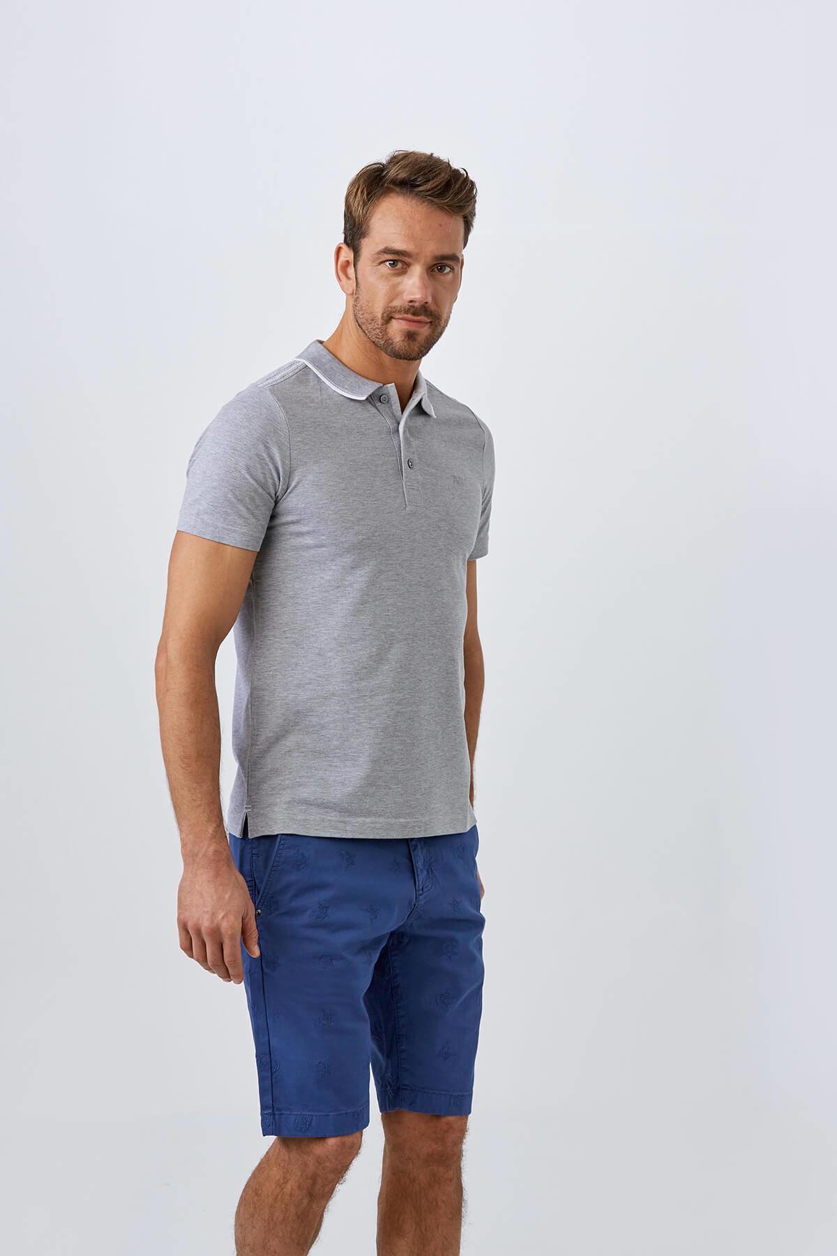 Açık Gri Polo Yaka T-Shirt
