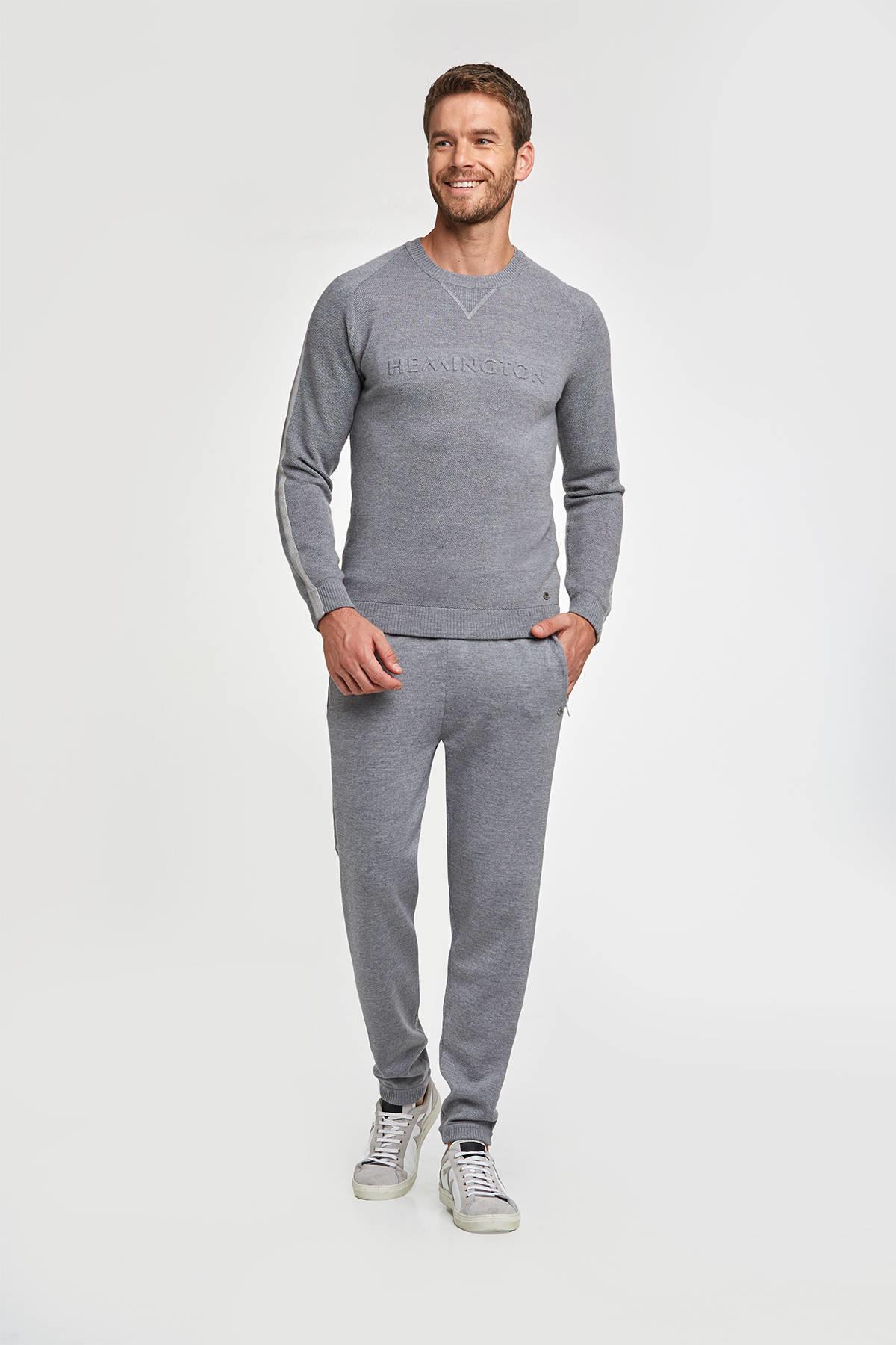 Merino Yün Açık Gri Activewear Triko Pantolon