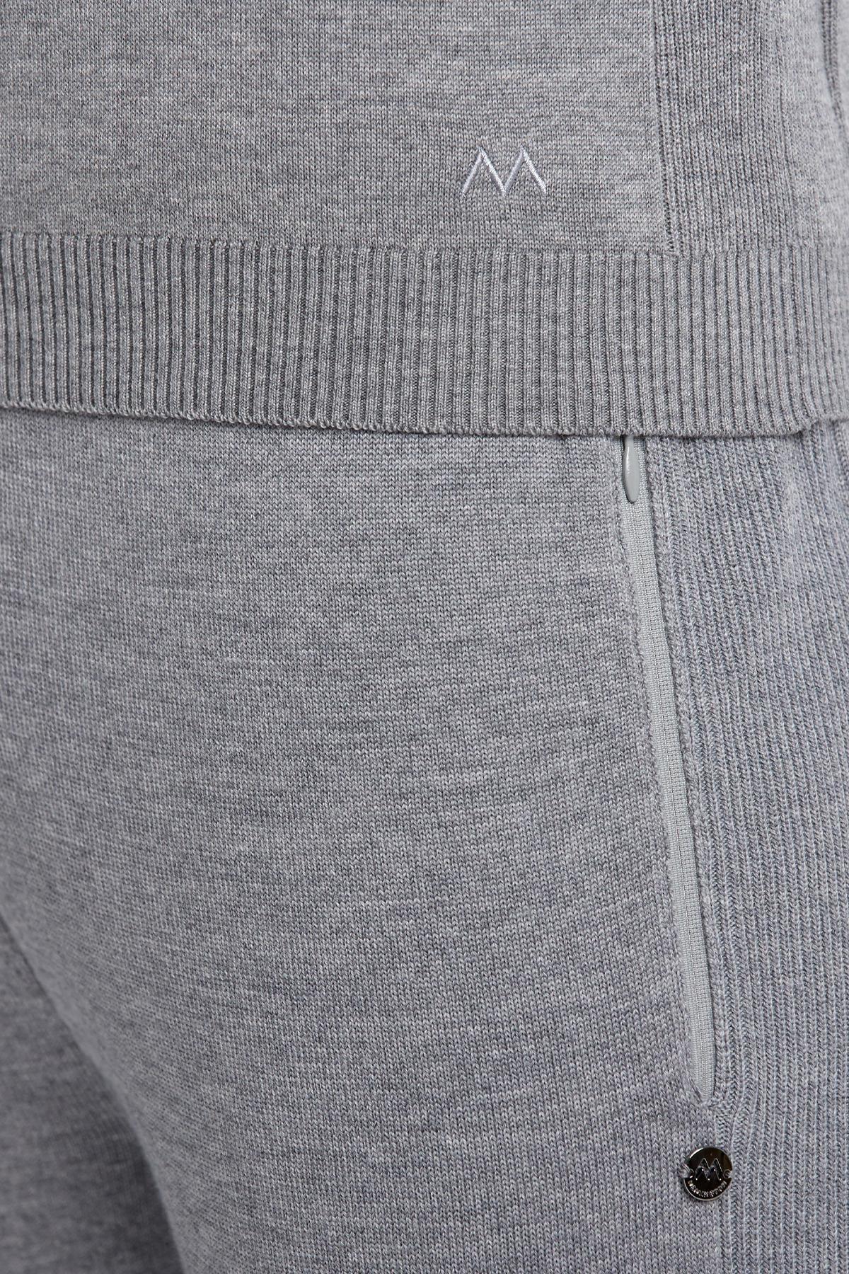 V Yaka Merino Yün Açık Gri Activewear Triko