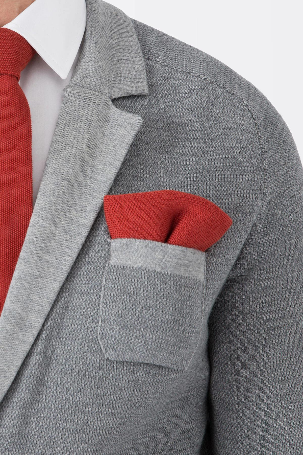 Açık Kırmızı Örgü Ceket Mendili