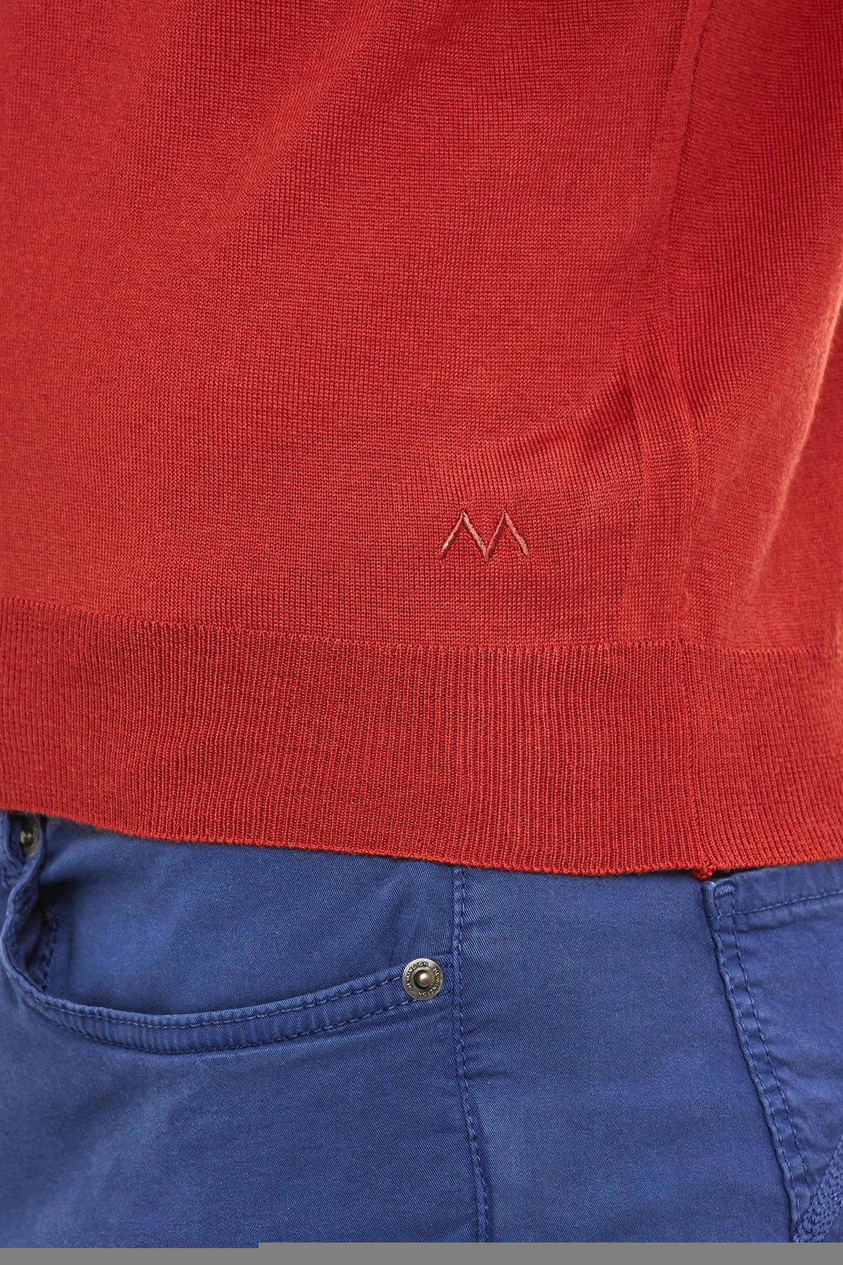 Açık Kırmızı Polo Yaka Merino Yün Triko