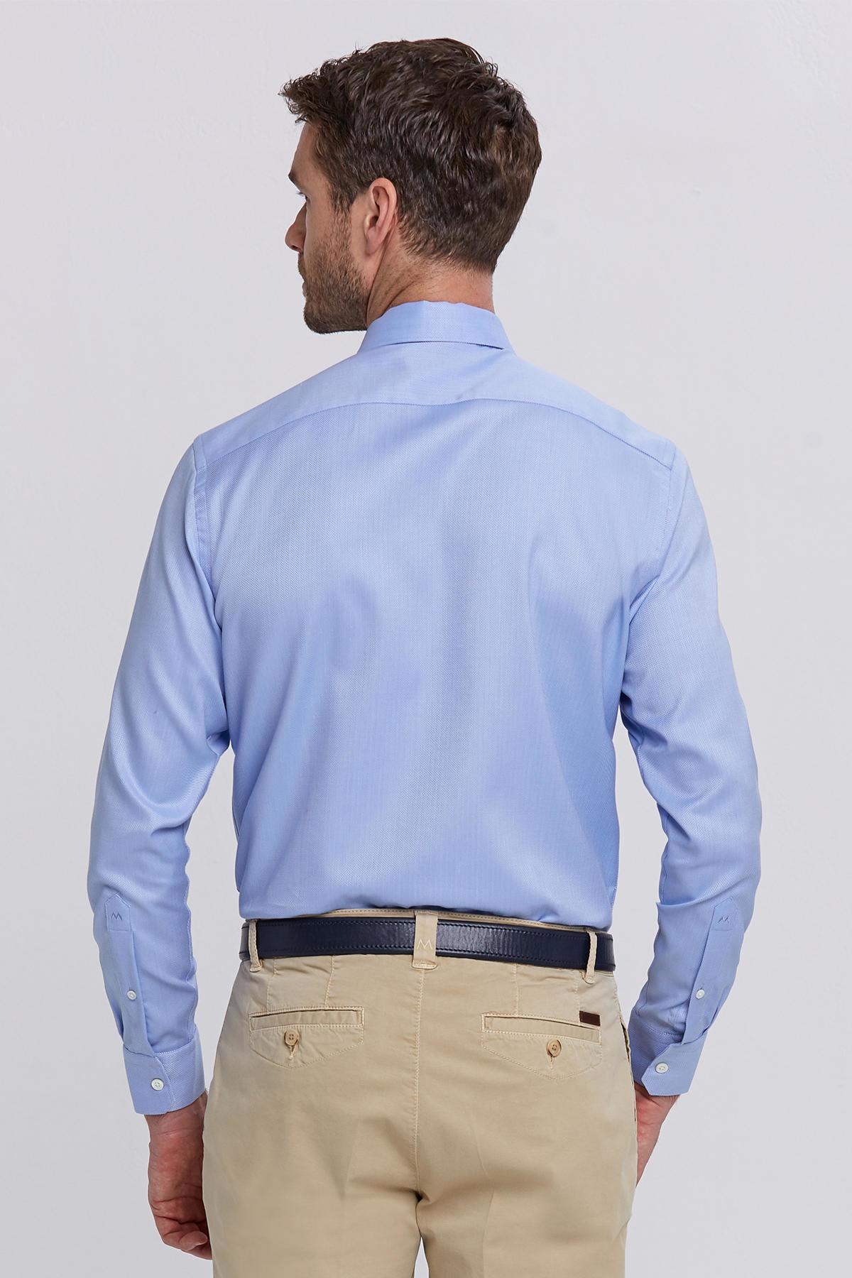 Açık Mavi Balıksırtı Doku Non-Iron Business Gömlek