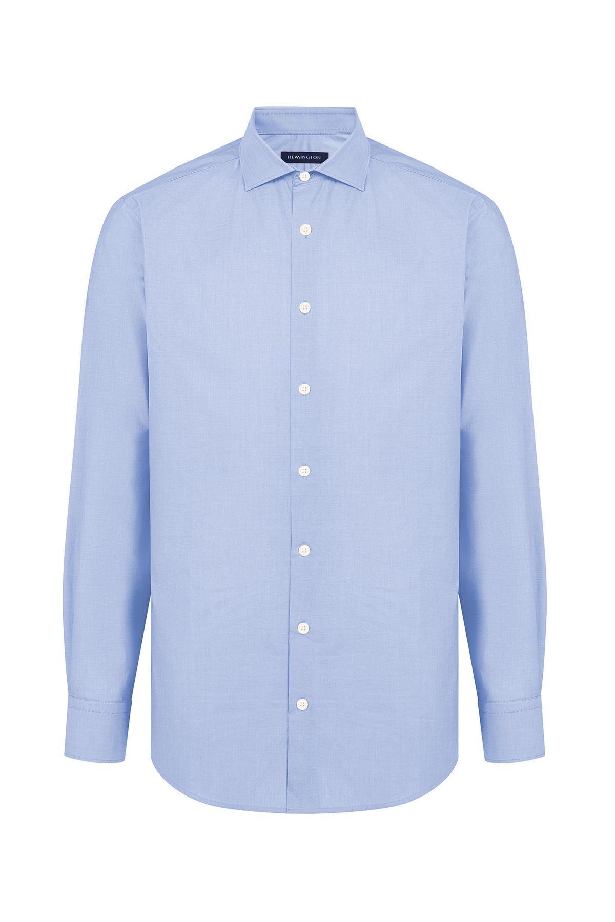 Açık Mavi İtalyan Yaka Pamuk Business Gömlek