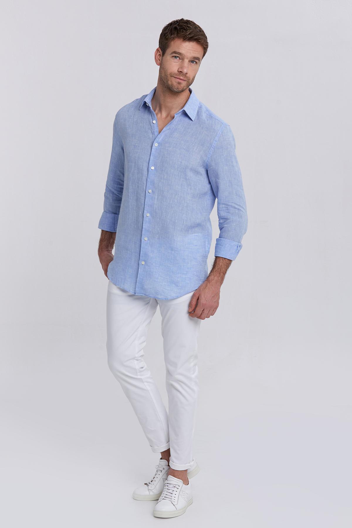 Açık Mavi Saf Keten Gömlek