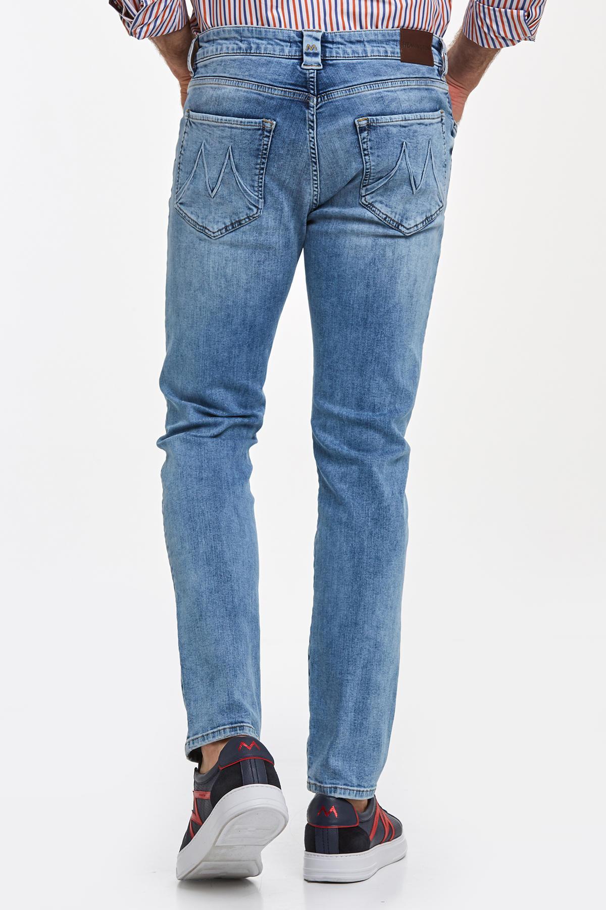 Açık Mavi Taşlanmış Denim Pantolon