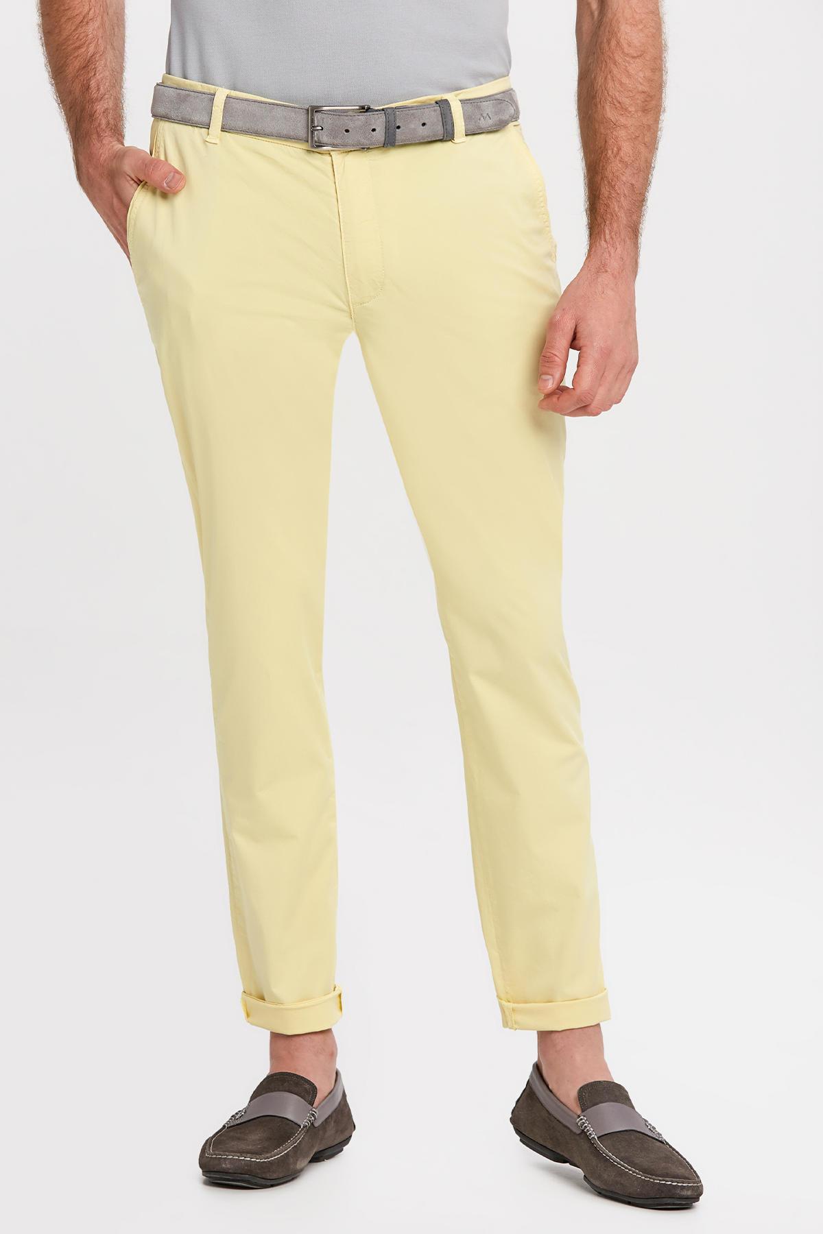 Açık Sarı Pamuk Yazlık Chino Pantolon
