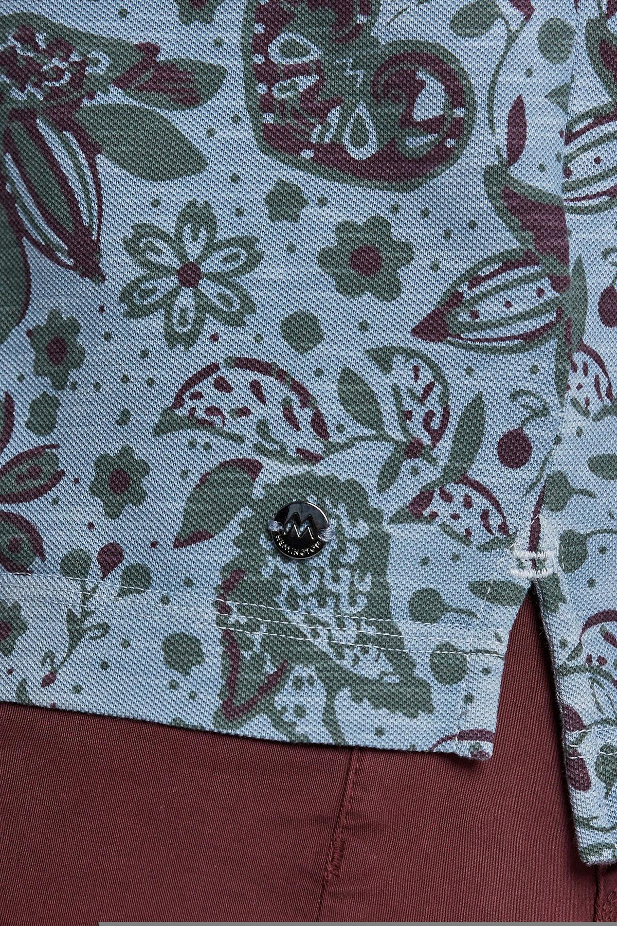 Açık Yeşil Çiçek Desenli Pike Pamuk Polo T-Shirt