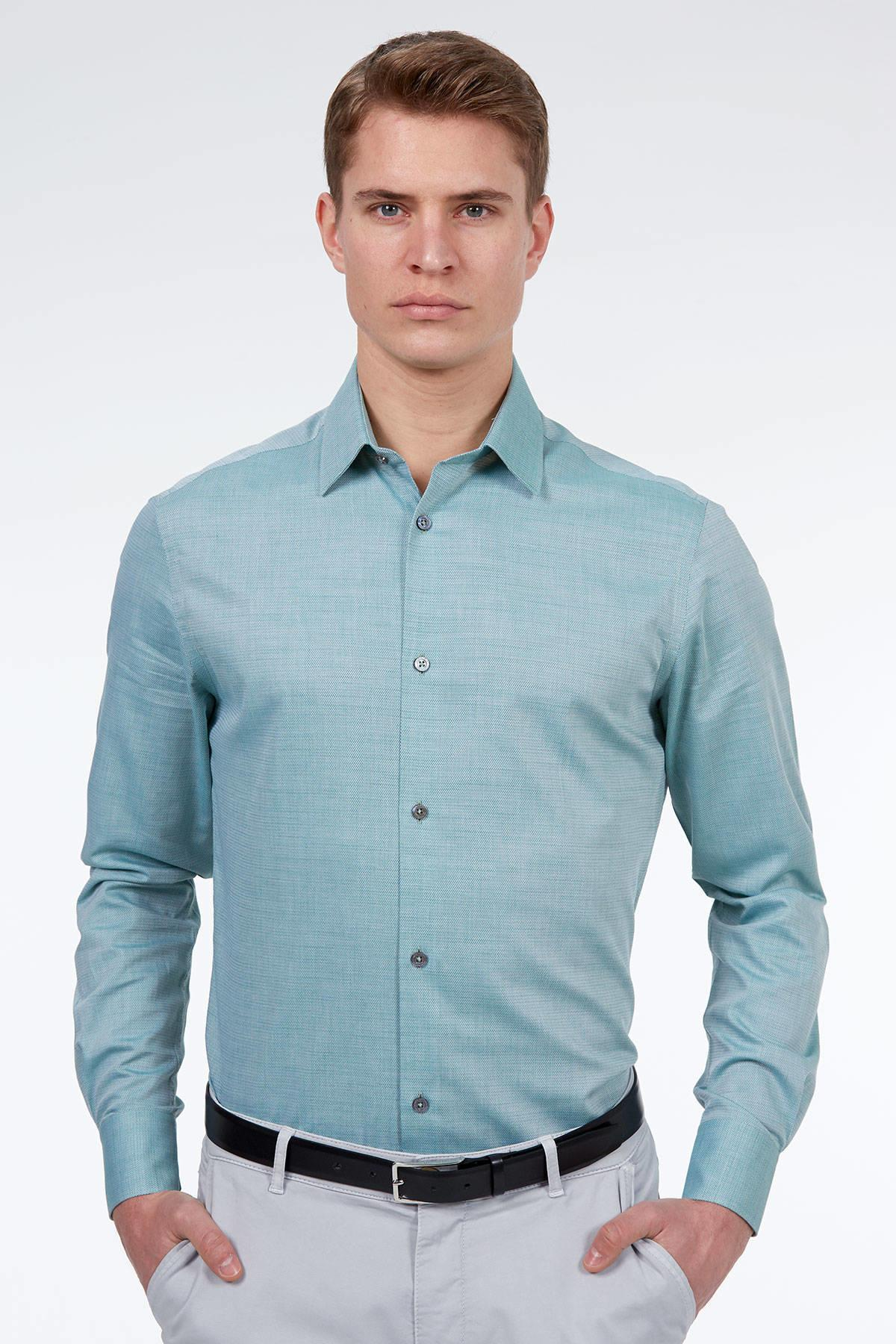 Açık Yeşil Dokulu Business Gömlek