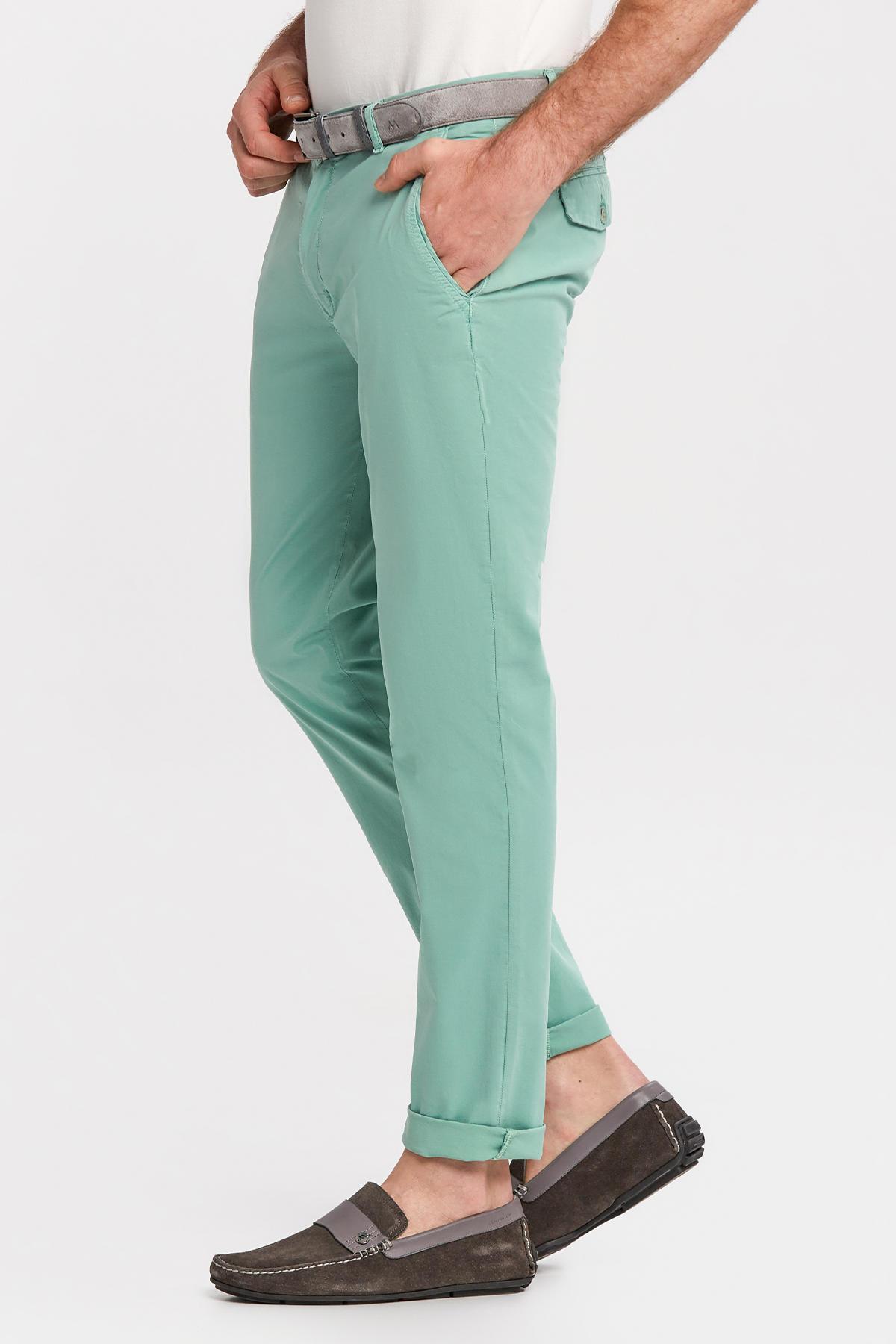 Açık Yeşil Pamuk Yazlık Chino Pantolon