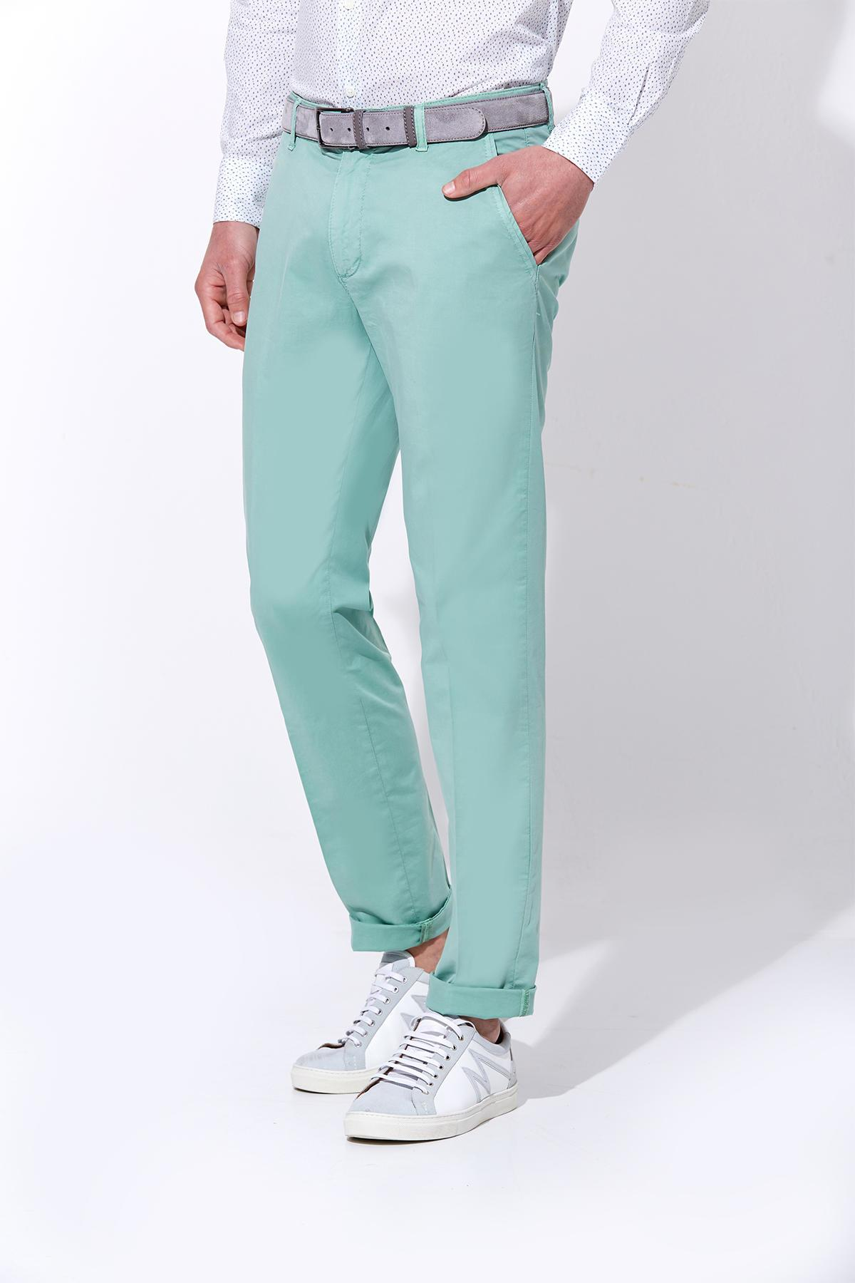 Açık Yeşil Yazlık Kanvas Pantolon