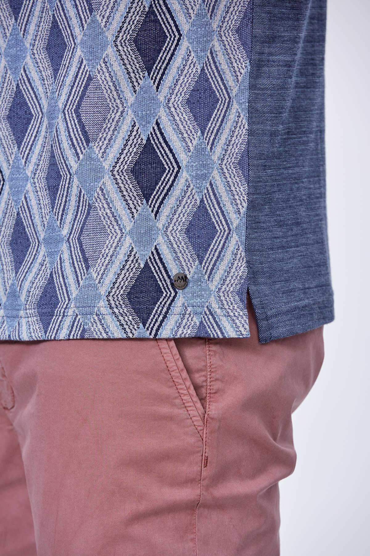 Baklava Desen Lacivert Polo Yaka T-Shirt