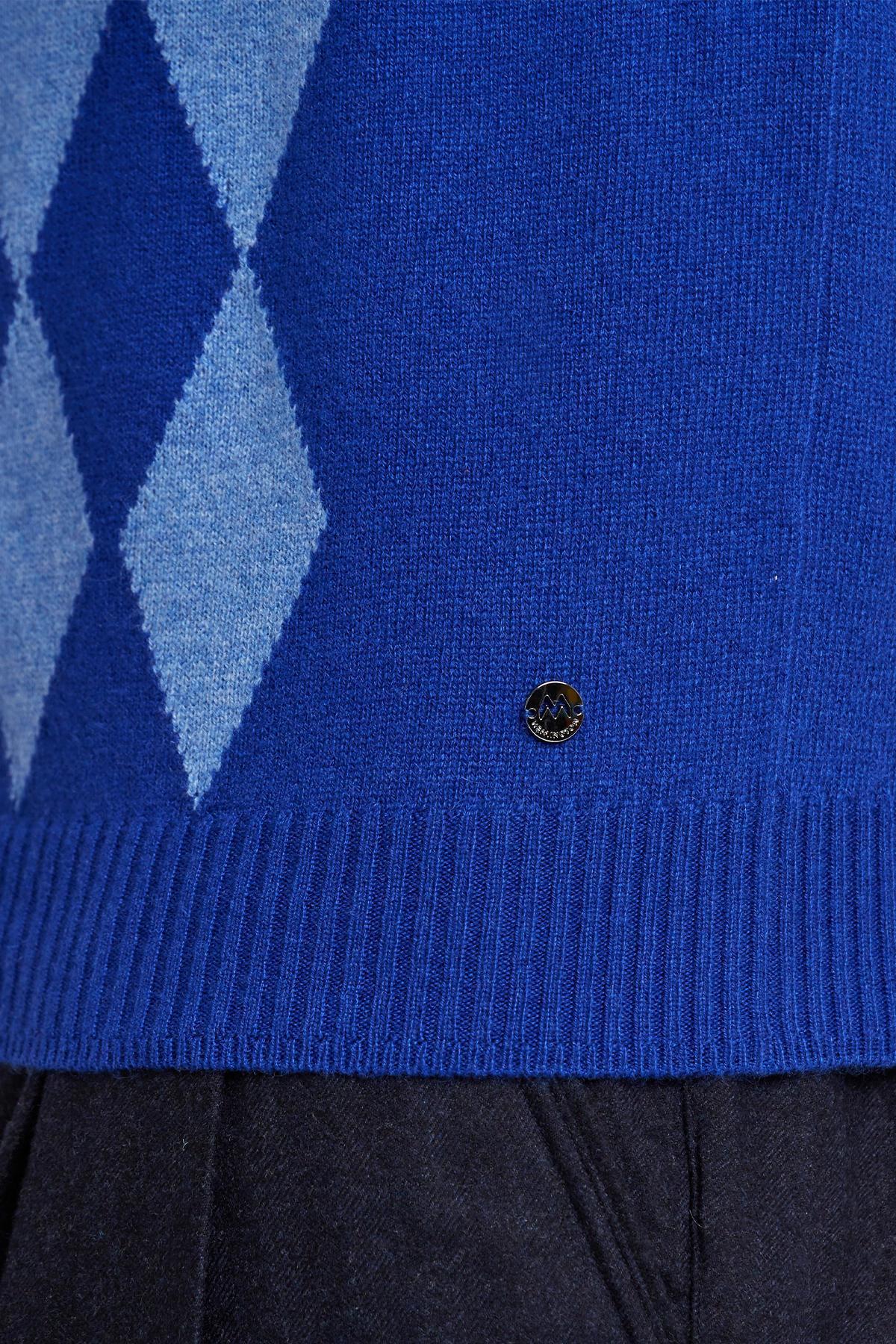 Baklava Desen Polo Yaka Saf Kaşmir Mavi Kazak