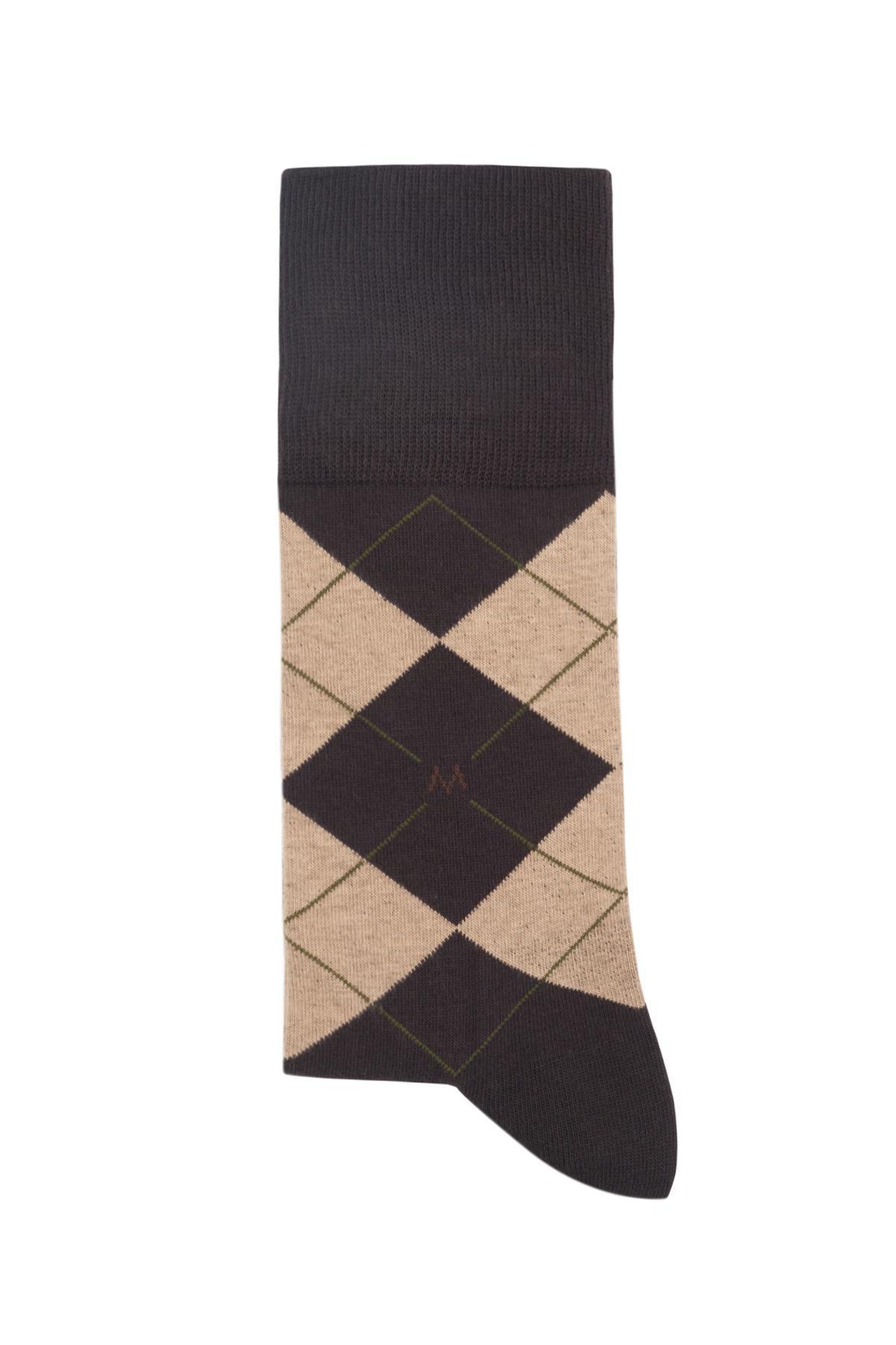 Baklava Desenli Koyu Kahverengi Pamuk Çorap