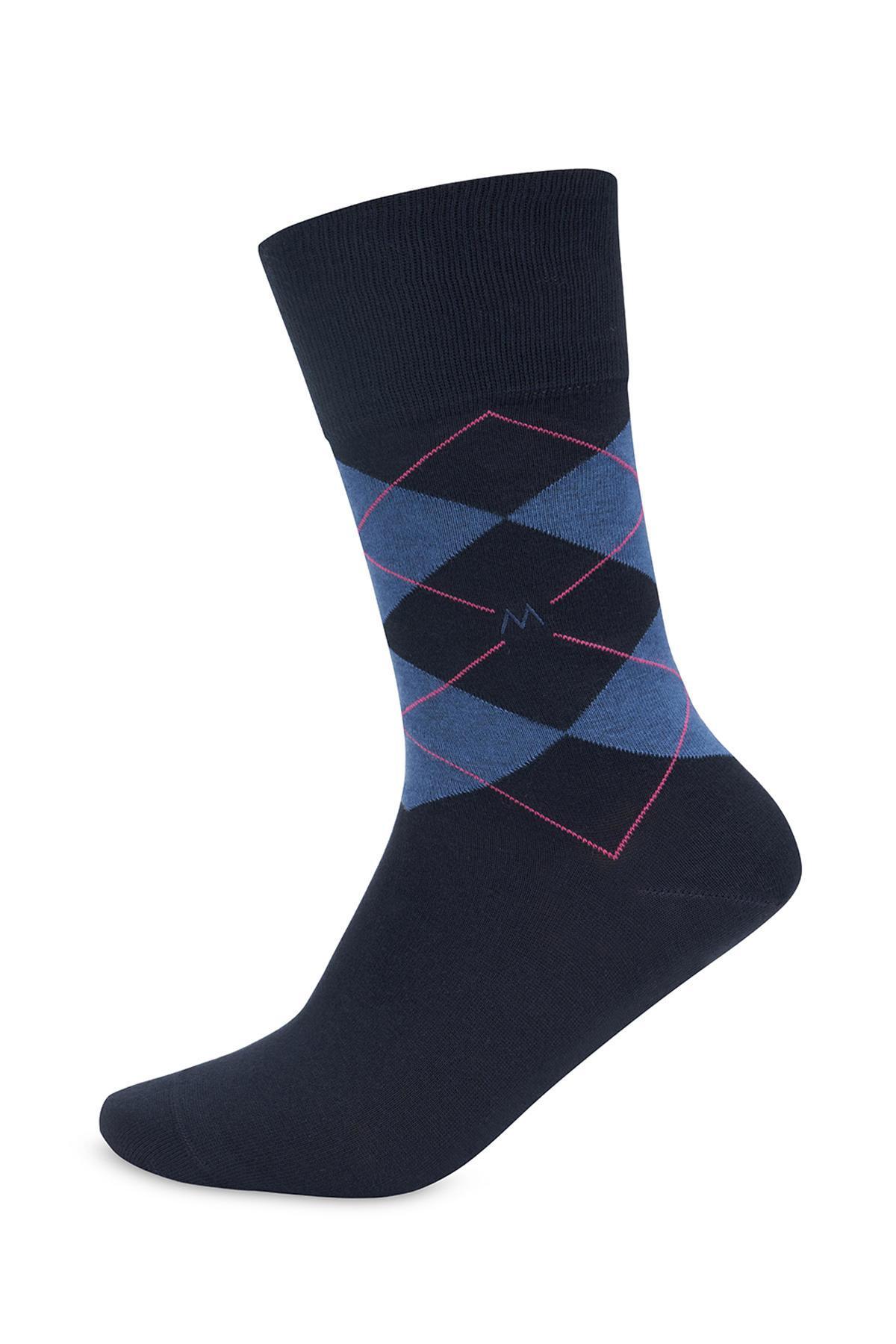 Baklava Desenli Lacivert Pamuk Çorap
