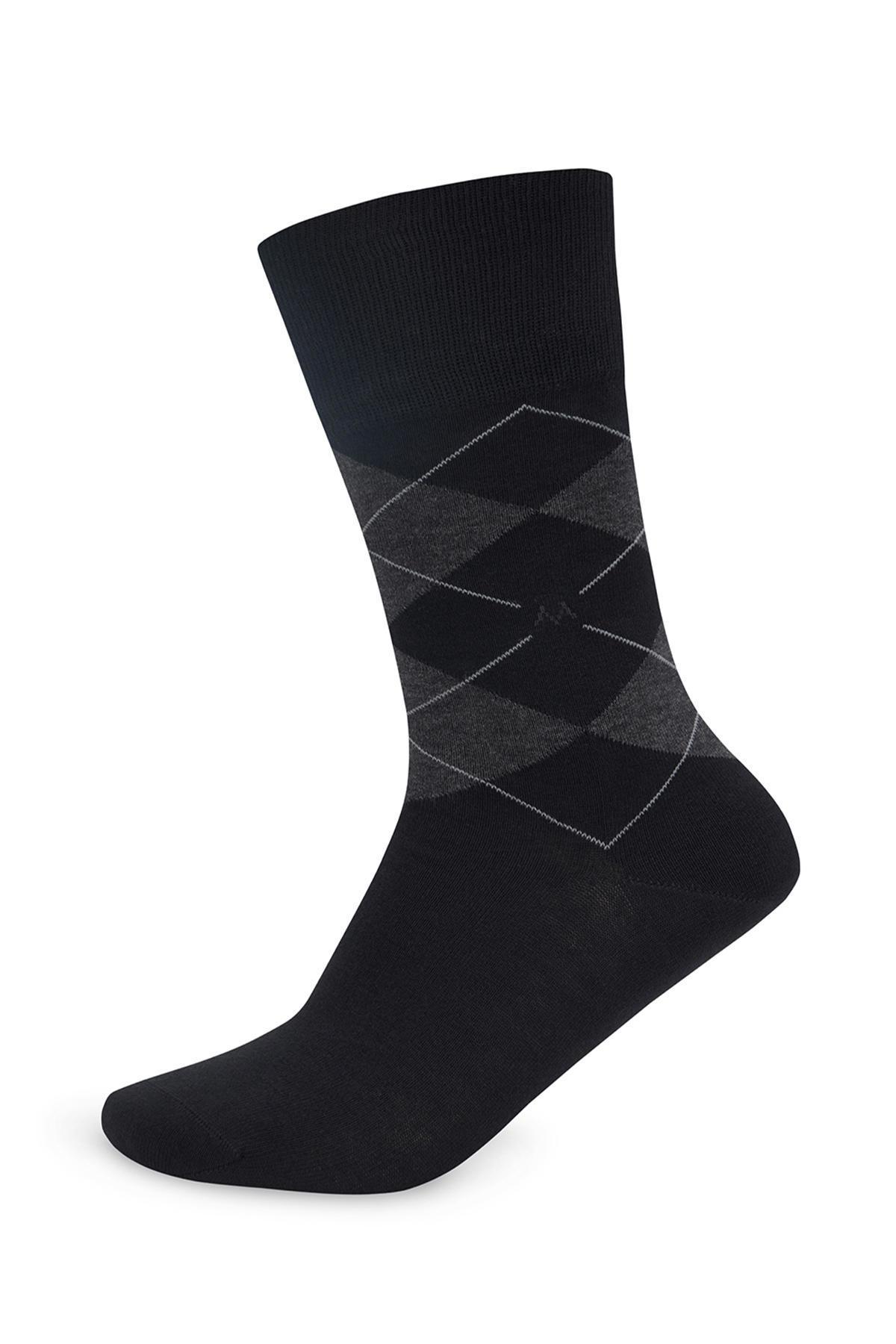 Baklava Desenli Siyah Pamuk Çorap