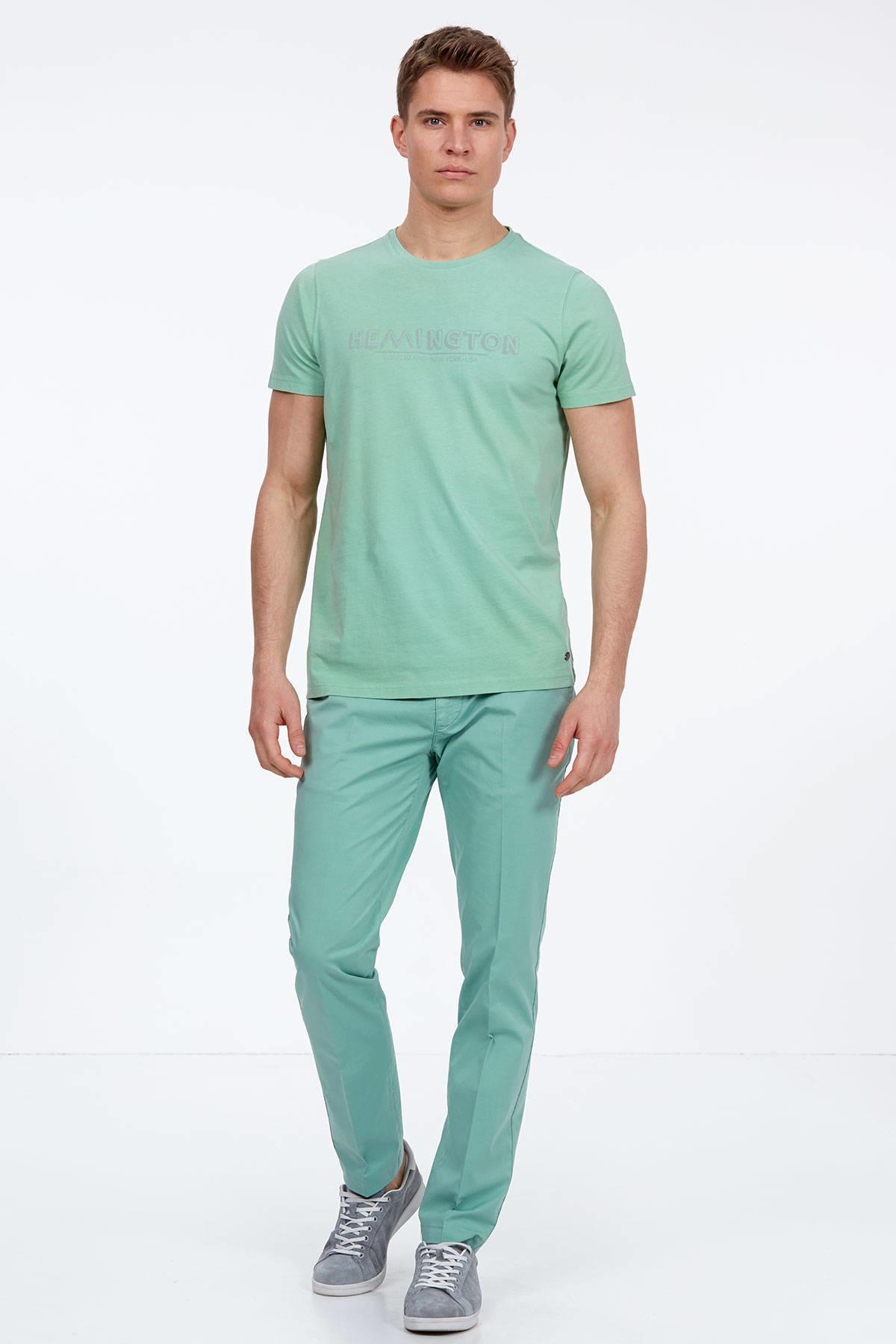 Açık Yeşil Bisiklet Yaka T-Shirt