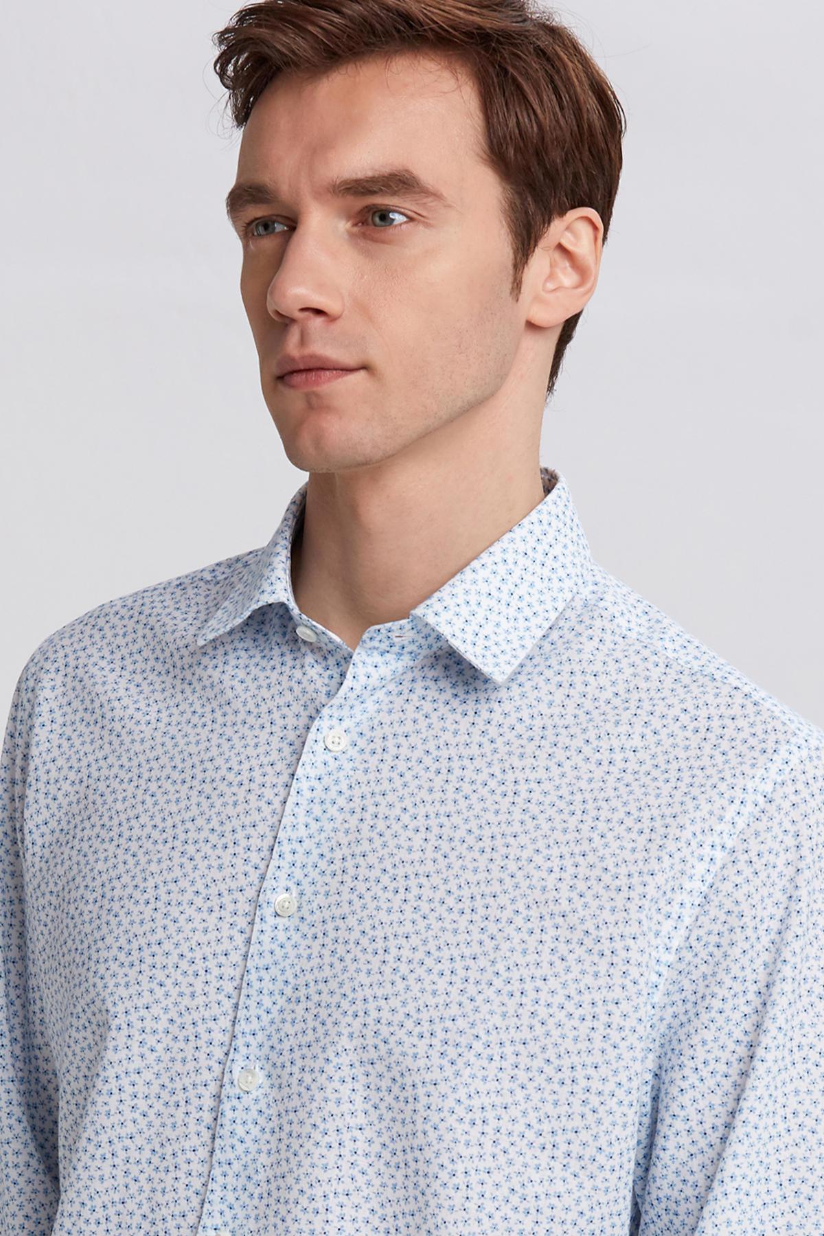 Turkuaz Baskılı Keten Pamuk Gömlek