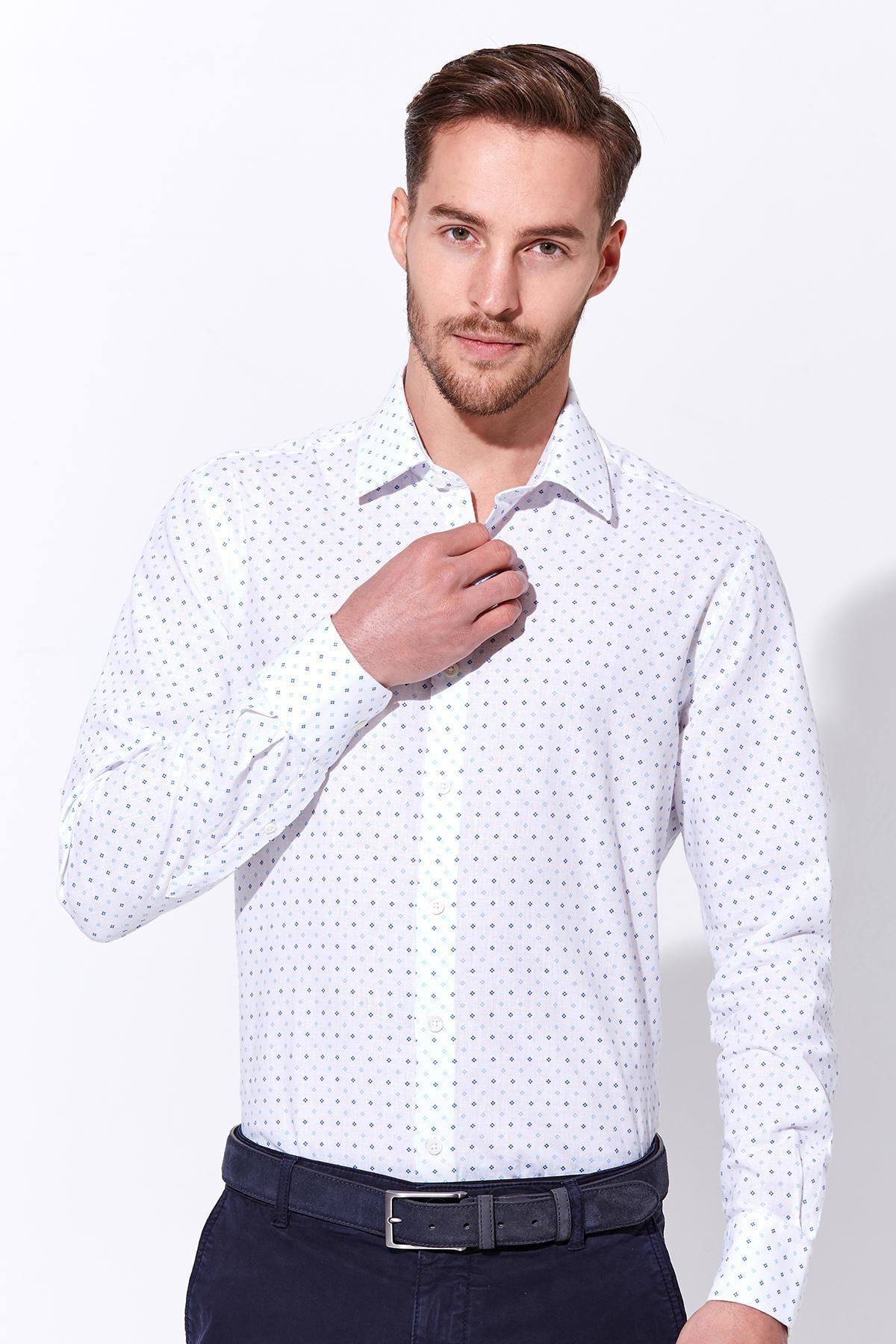 Beyaz Keten Pamuk Gömlek