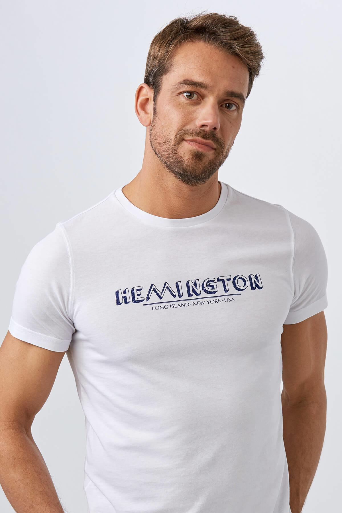 Beyaz Baskılı Bisiklet Yaka T-Shirt