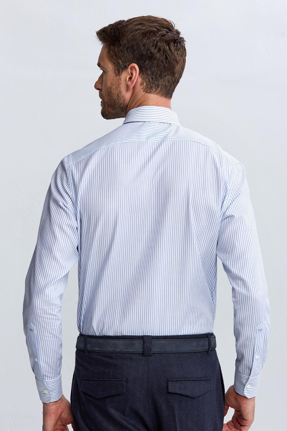 Beyaz Çizgili Pamuk Gömlek