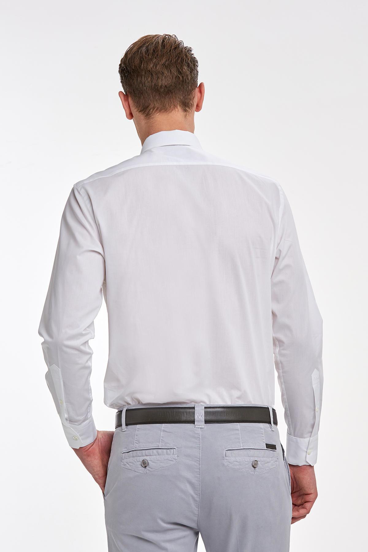 Beyaz İtalyan Yaka Pamuk Business Gömlek
