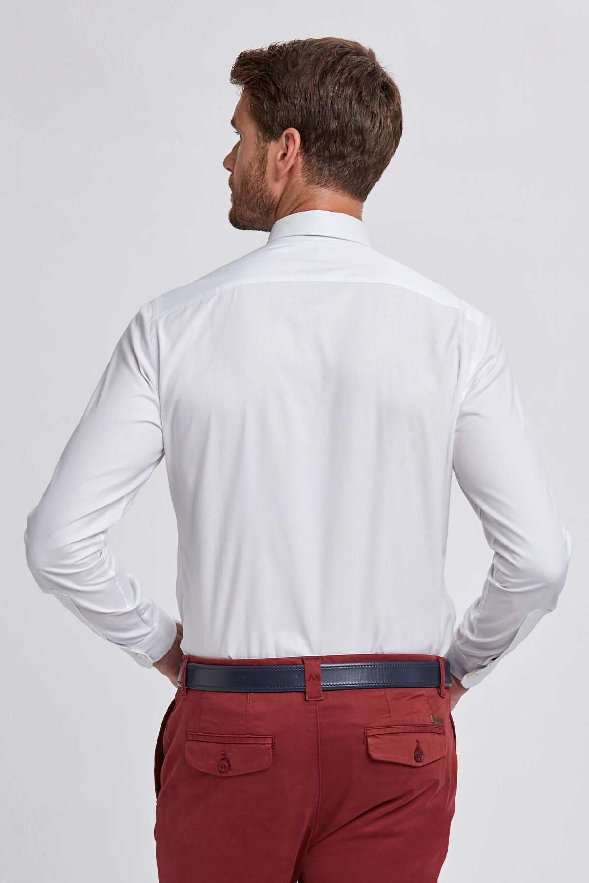 Beyaz Oxford Düğmeli Yaka Spor Gömlek
