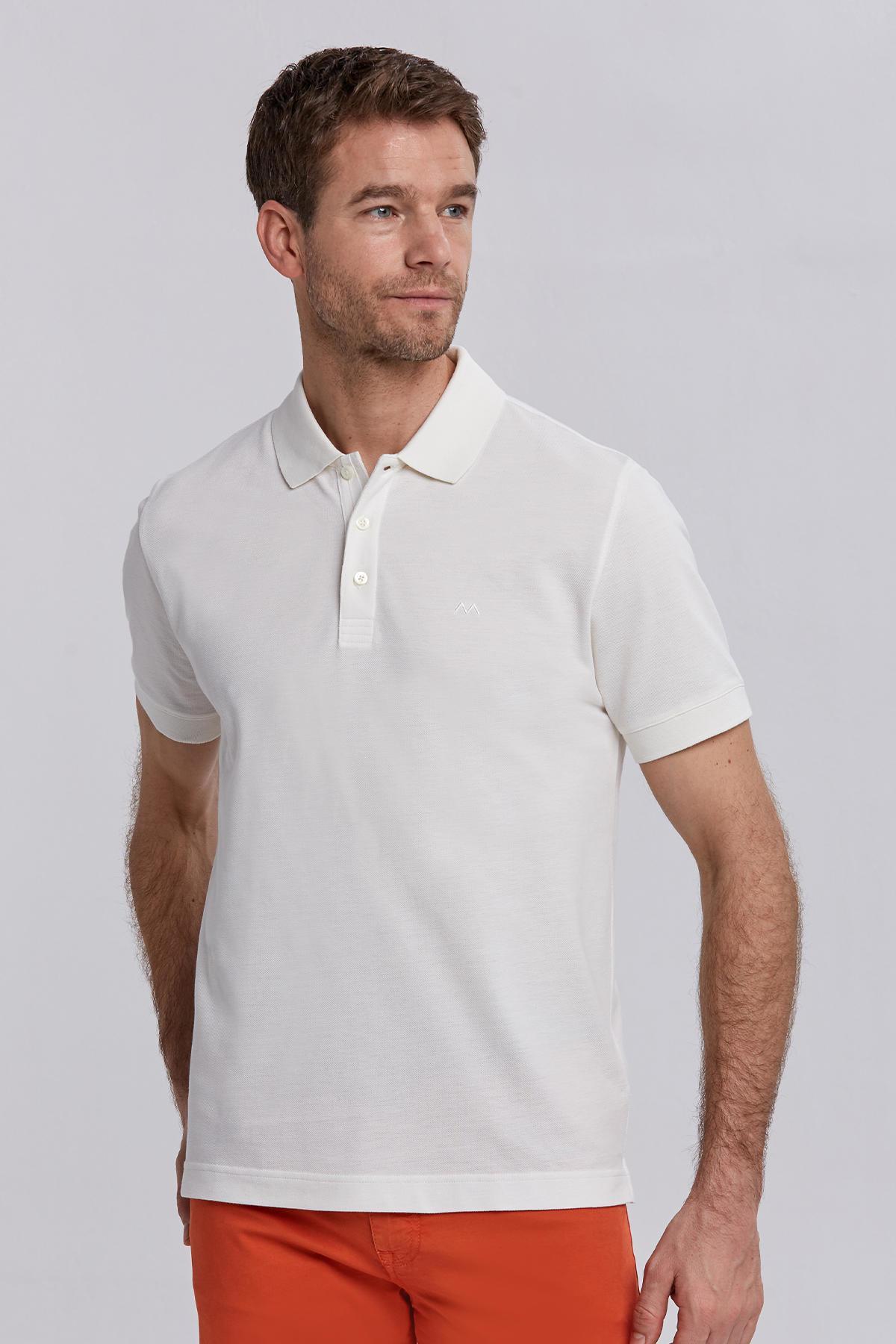 Pike Örgü Beyaz Polo Yaka T-Shirt