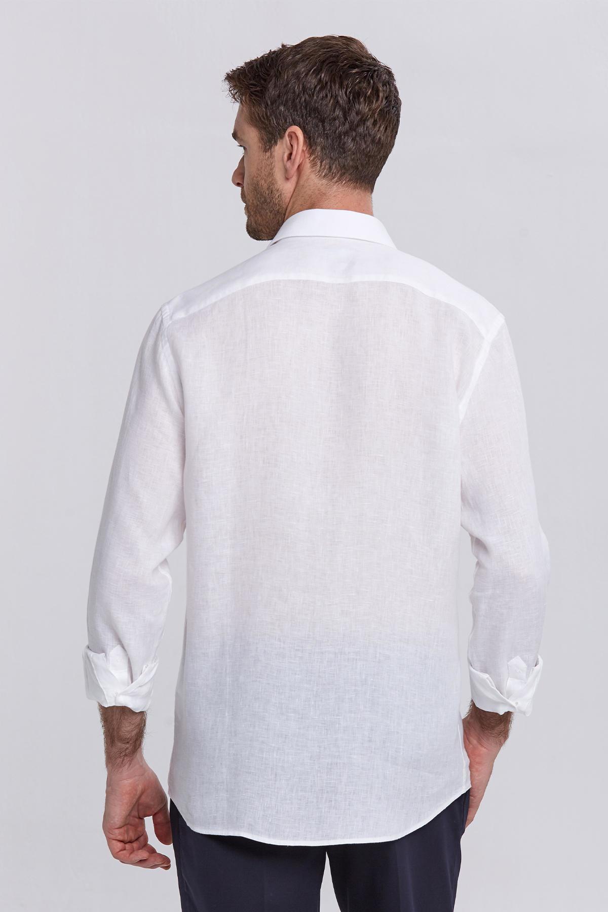 Beyaz Saf Keten Gömlek