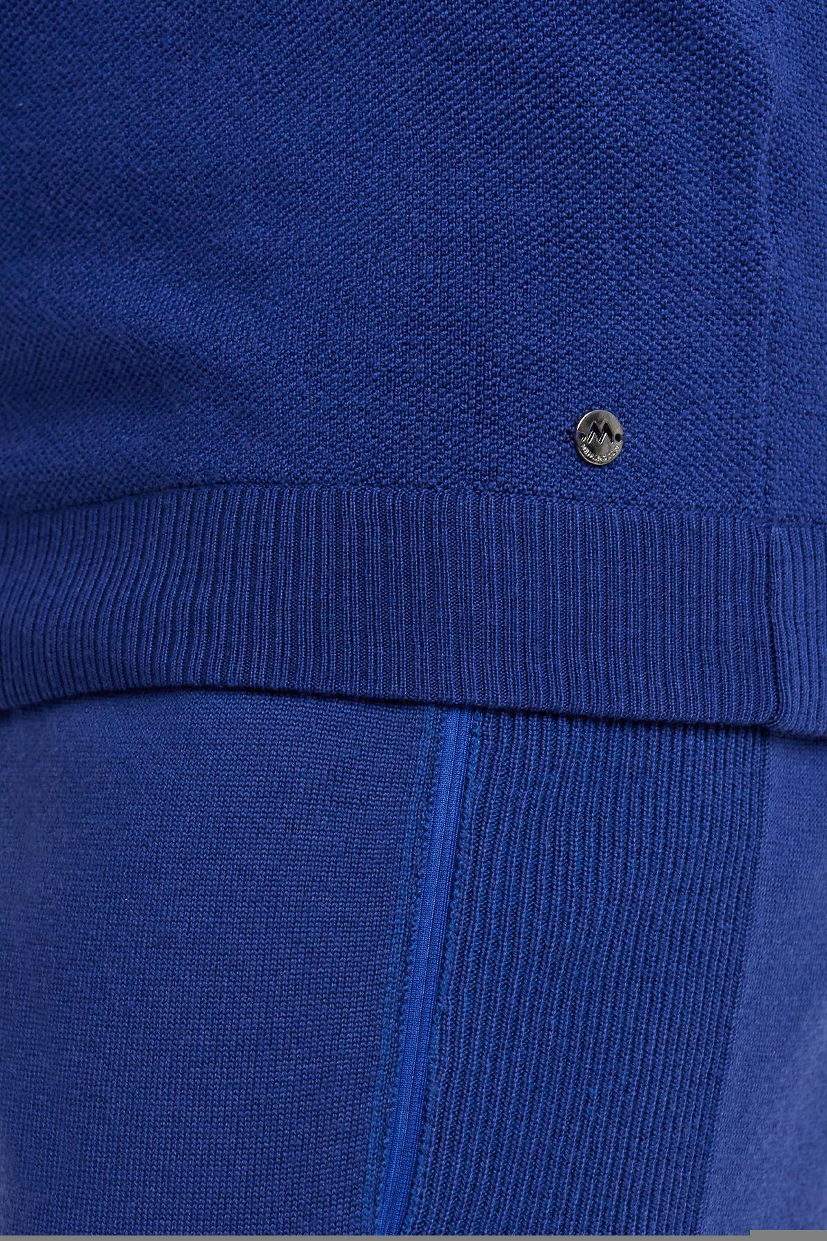 Bisiklet Yaka Merino Yün Mavi Activewear Triko