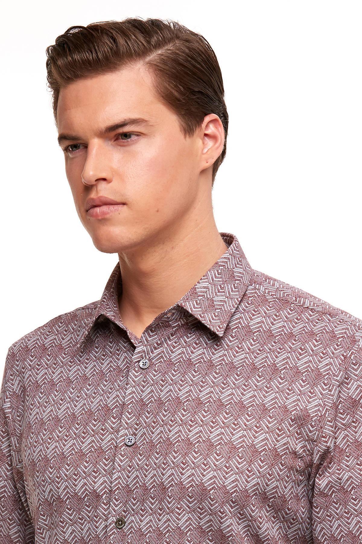 Bordo Baskılı Business Gömlek