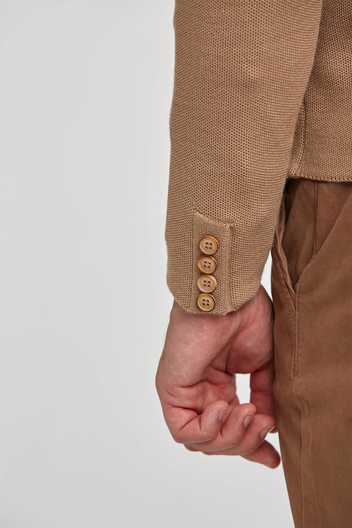 Extrafine Merino Camel Kruvaze Business Triko Ceket