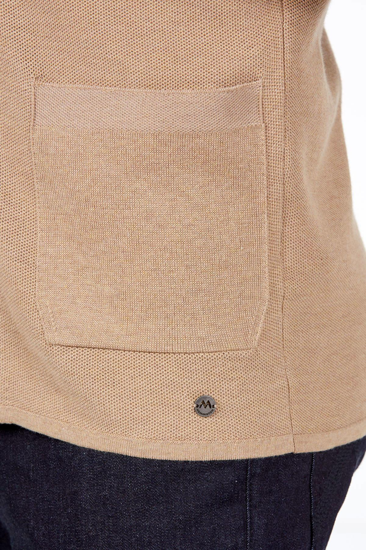 Saf Pamuk Camel Yazlık Triko Ceket