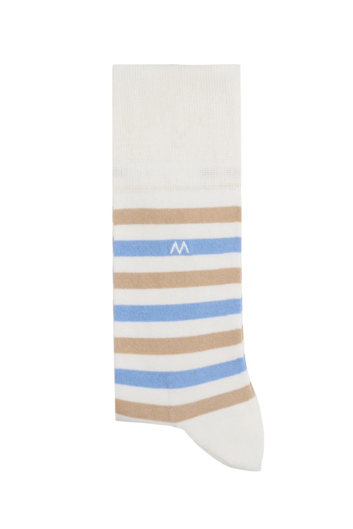 Çizgili Beyaz Yazlık Pamuk Çorap