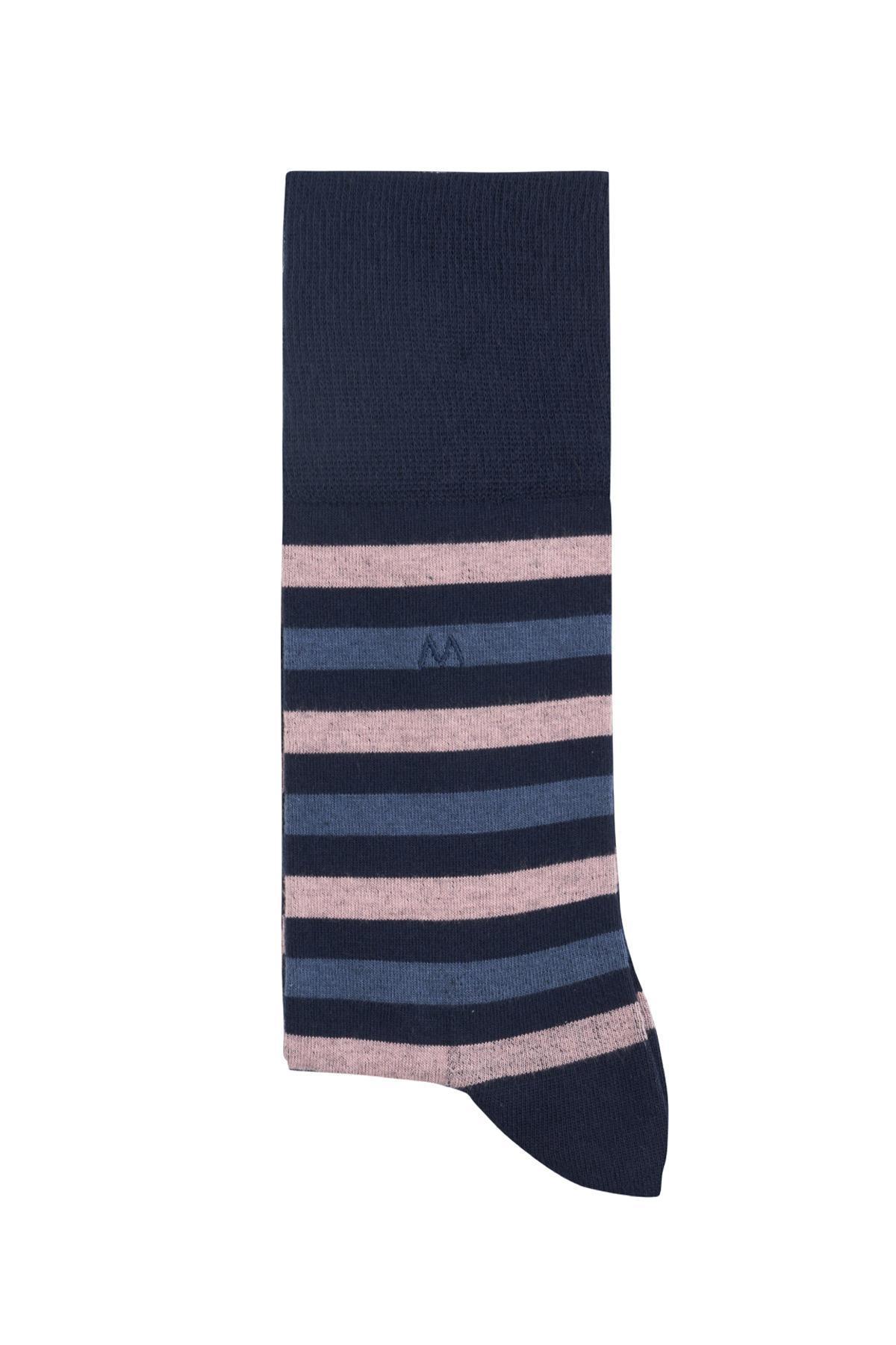 Çizgili Lacivert Yazlık Pamuk Çorap