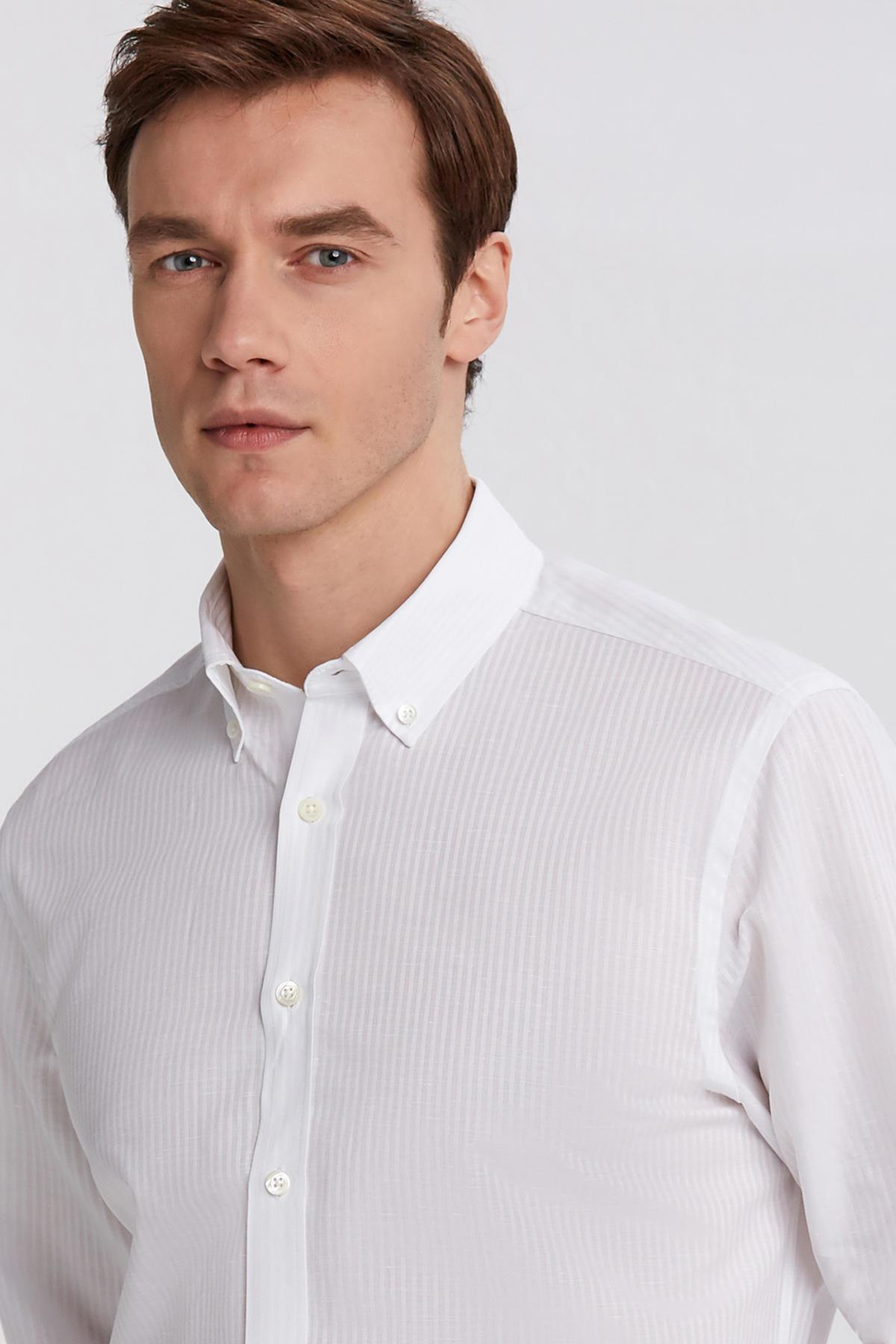 Çizgili Beyaz İnce Business Gömlek