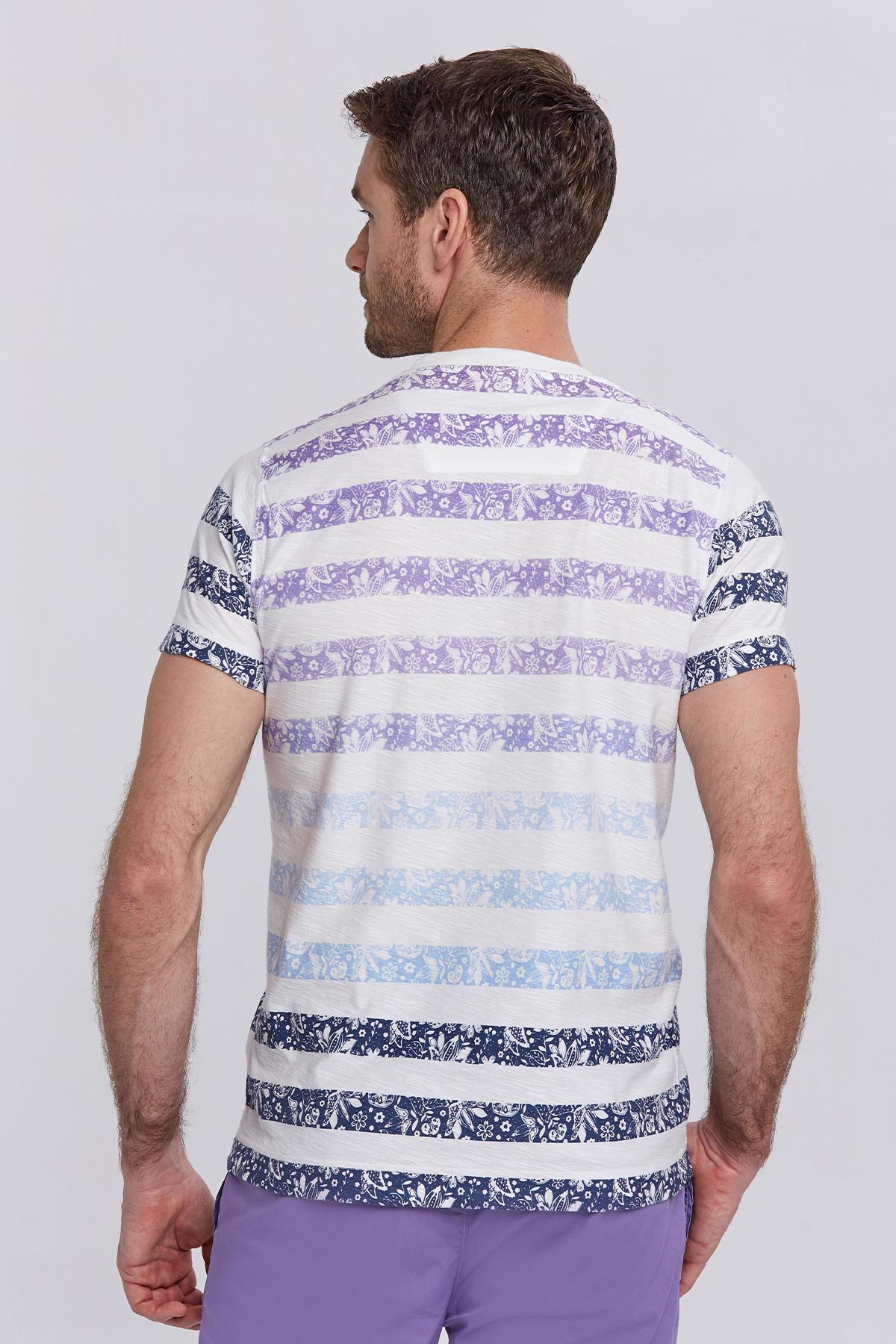Çizgili Bisiklet Yaka Lacivert Beyaz T-Shirt