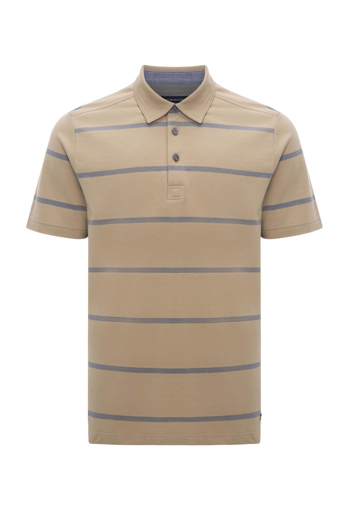 Çizgili Camel Polo Yaka T-Shirt