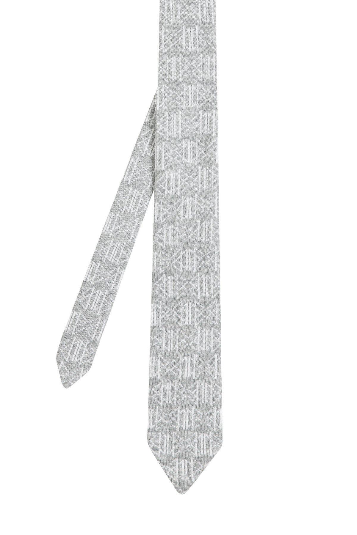 Desenli Açık Gri Örgü Kravat