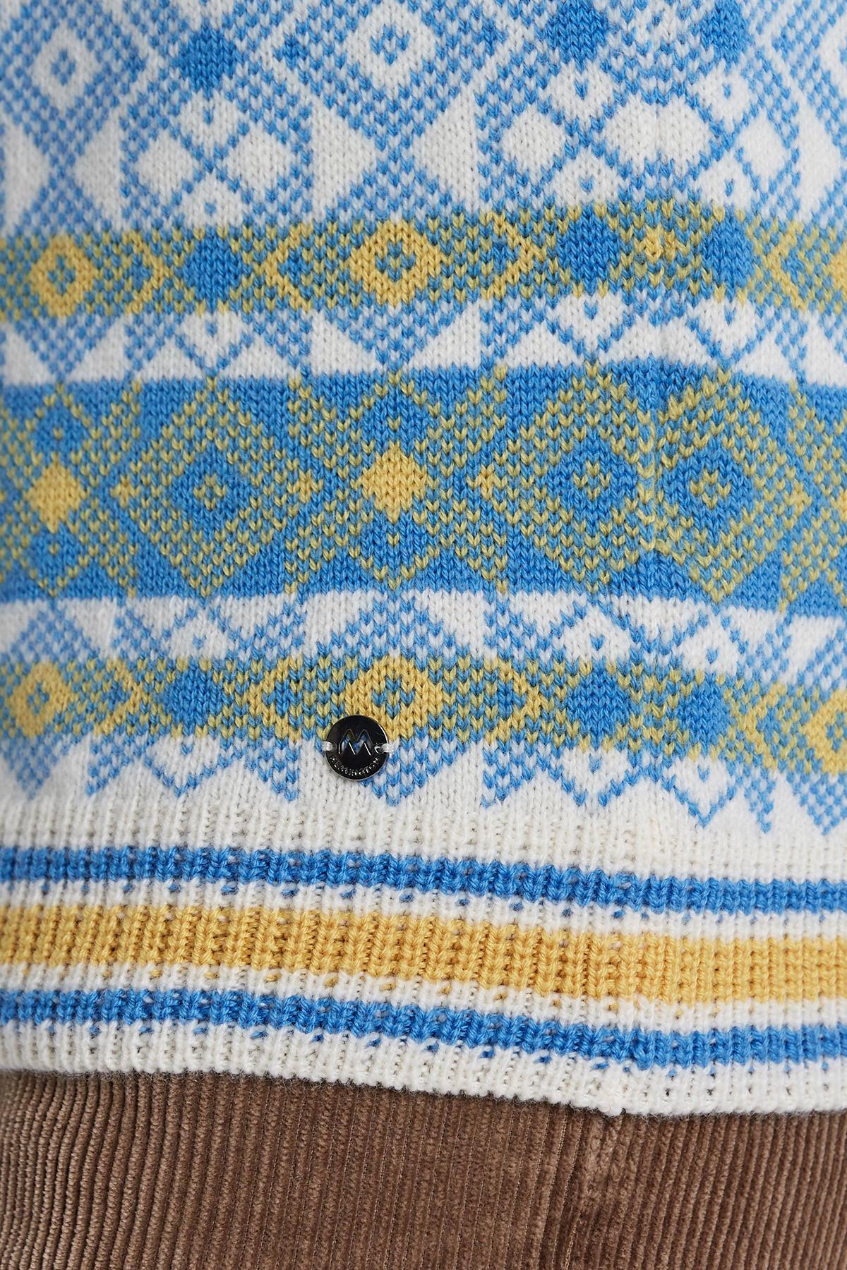 Desenli Beyaz Kaşmir Yün Karışımlı Kazak