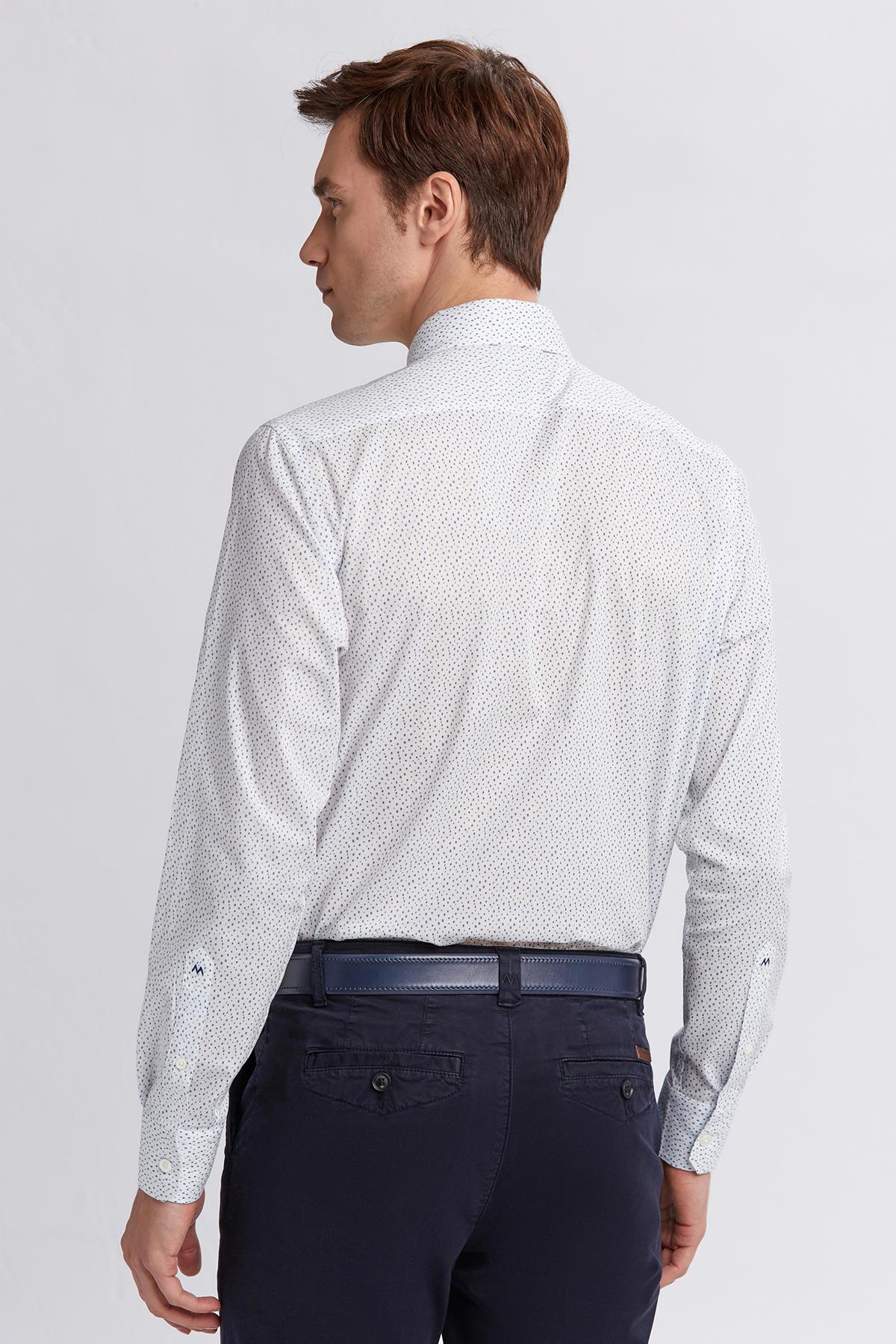 Beyaz Mavi Desenli İtalyan Yaka Gömlek