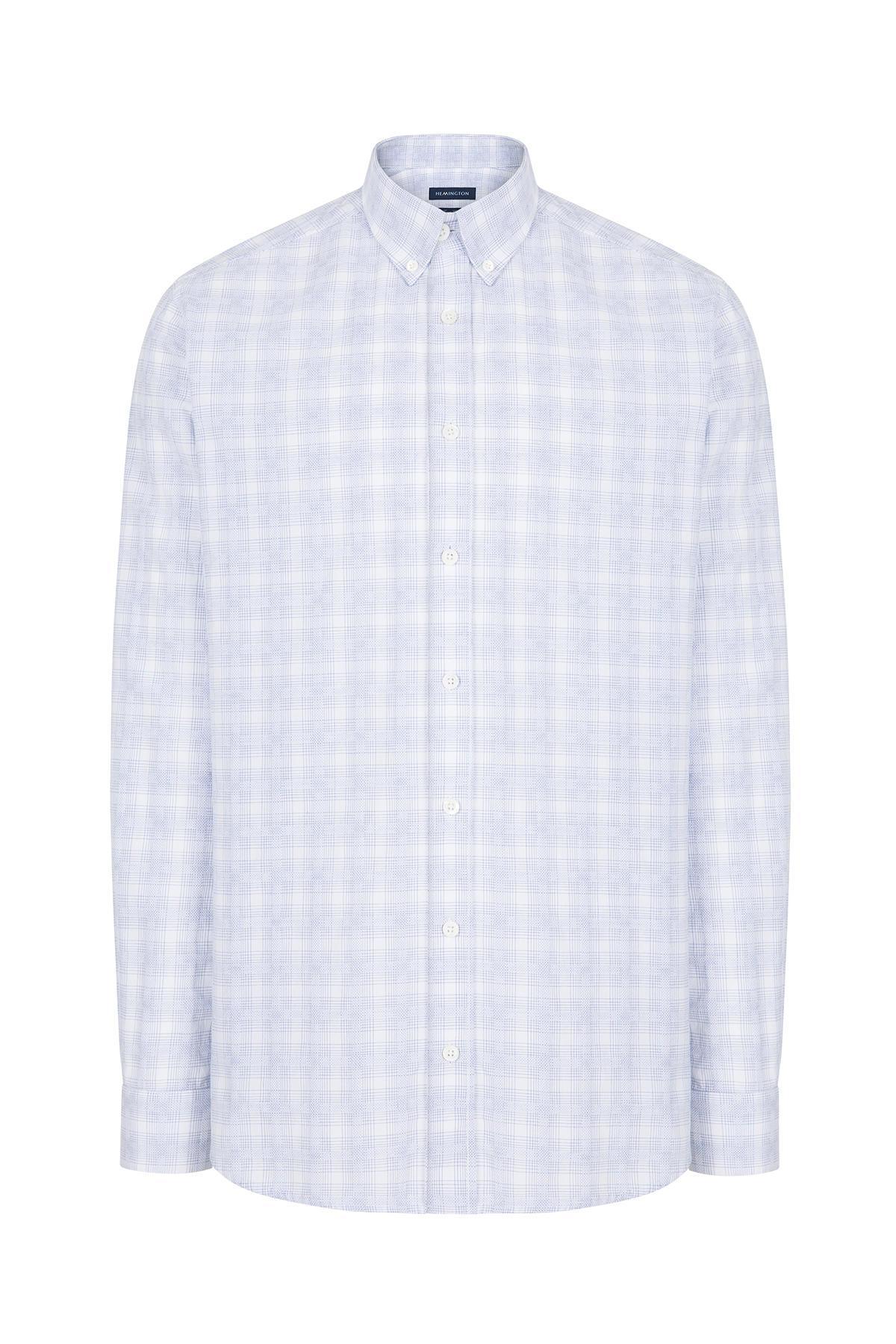 Mavi Beyaz Desenli Spor Gömlek