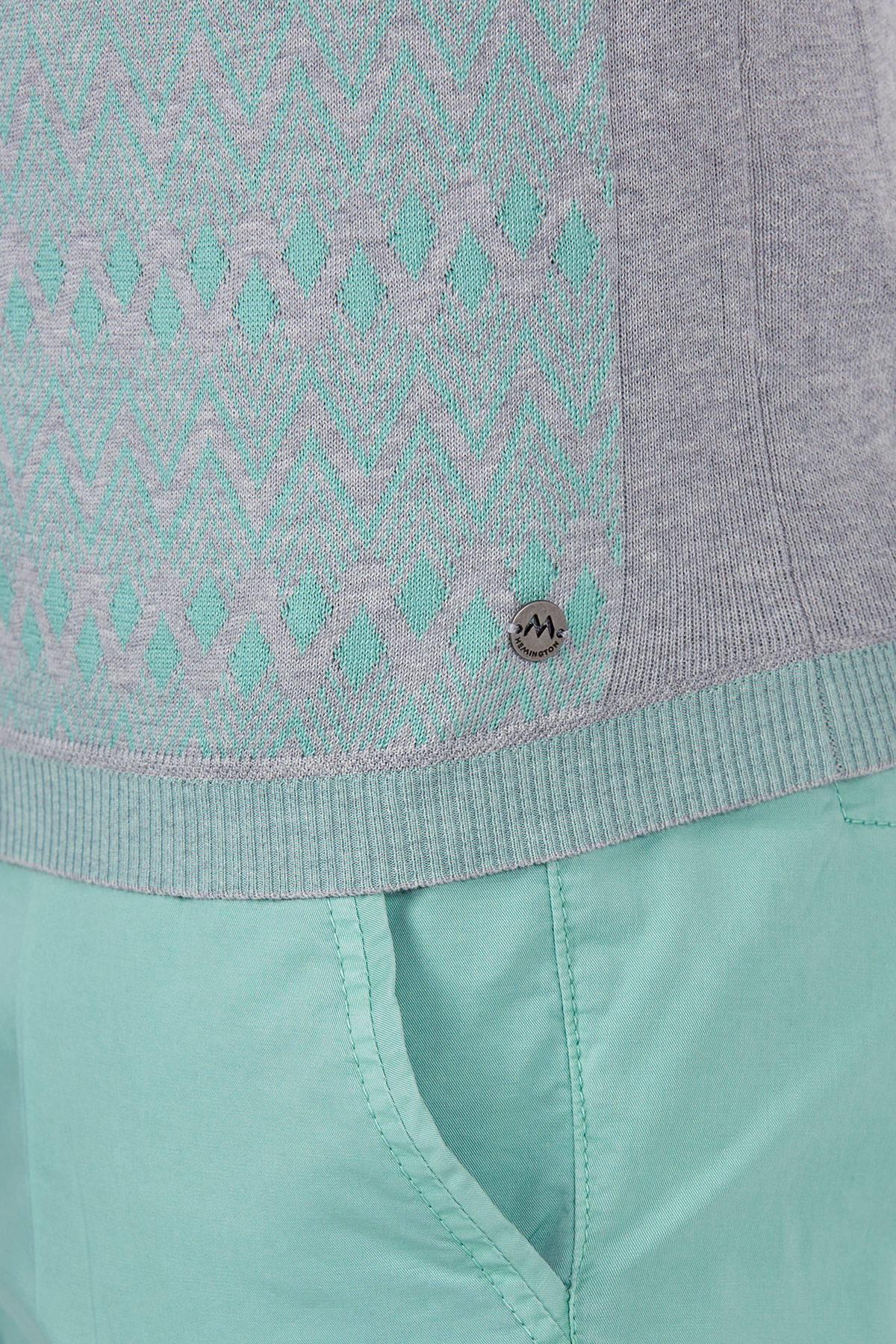 Gri Yeşil Giza Pamuk Desenli Triko Polo T-Shirt