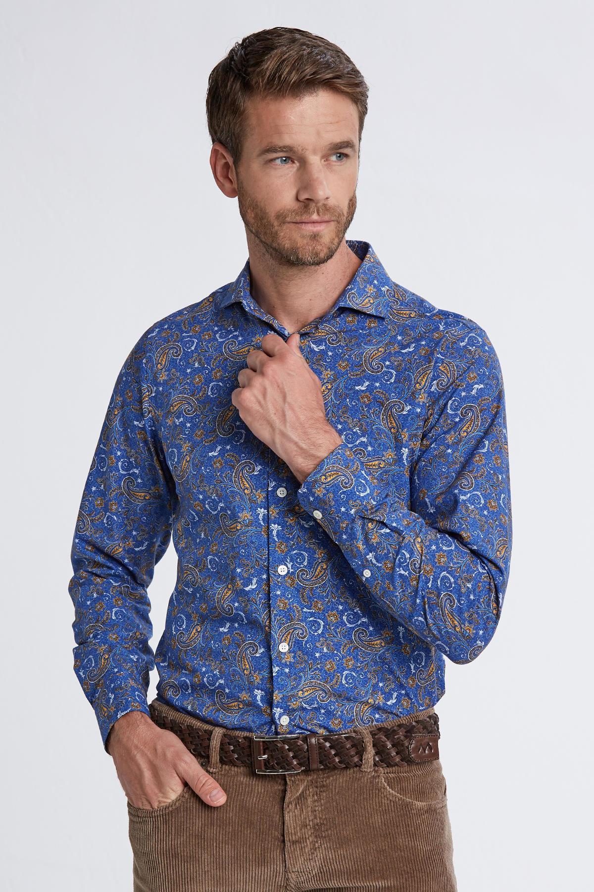 Desenli İtalyan Yaka Koyu Mavi Pamuk Gömlek