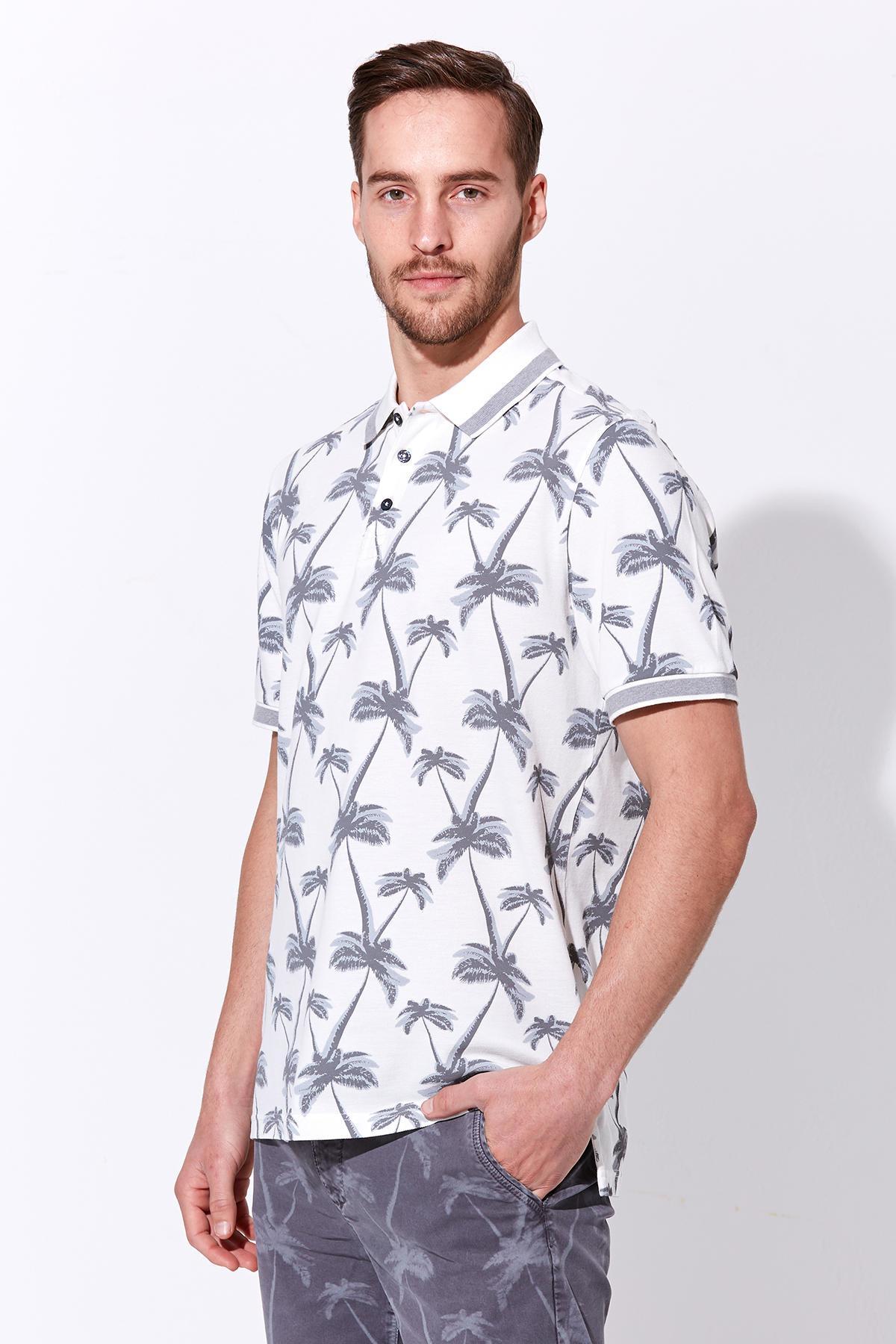 Palmiye Desen Pike Örgü Beyaz Polo Yaka T-Shirt