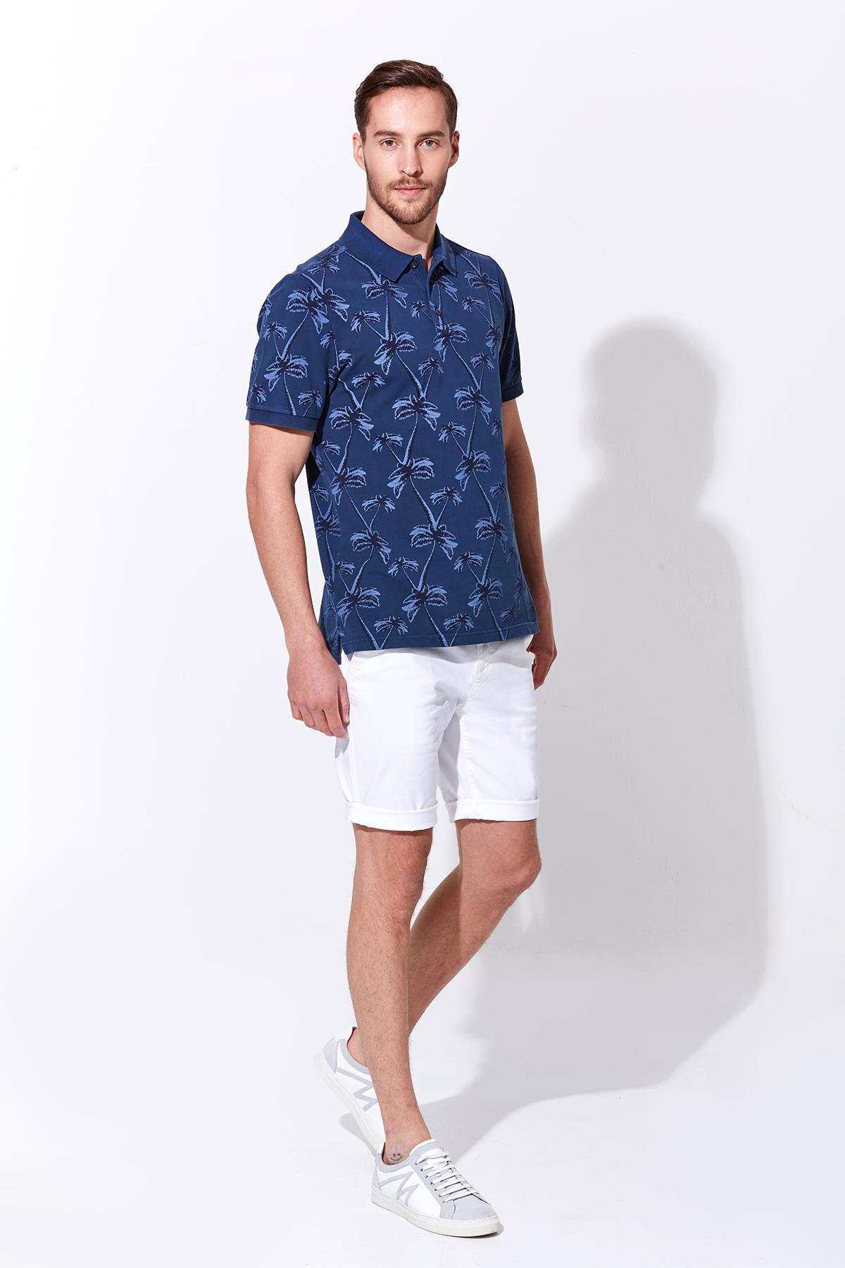 Palmiye Desen Pike Örgü Koyu Mavi Polo Yaka T-Shirt