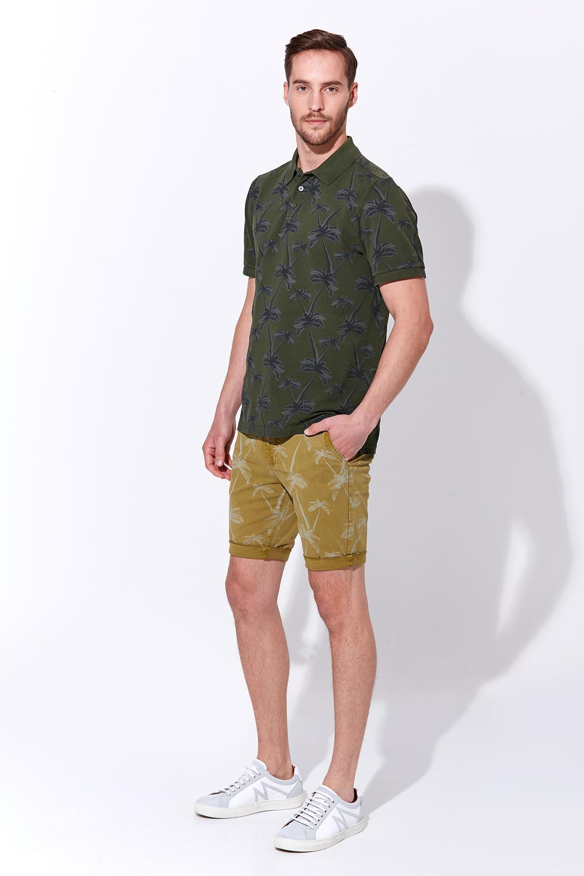 Palmiye Desen Pike Örgü Koyu Yeşil Polo Yaka T-Shirt