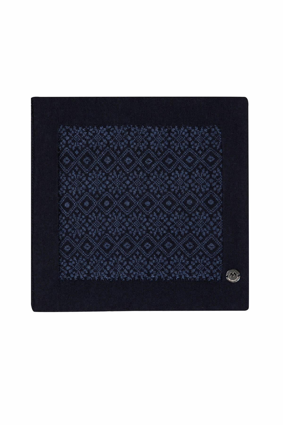 Desenli Lacivert Gece Mavisi Örgü Mendil