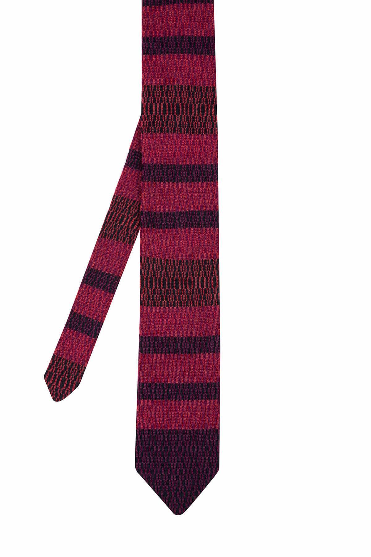 Kırmızı Renk Desenli Örgü Kravat