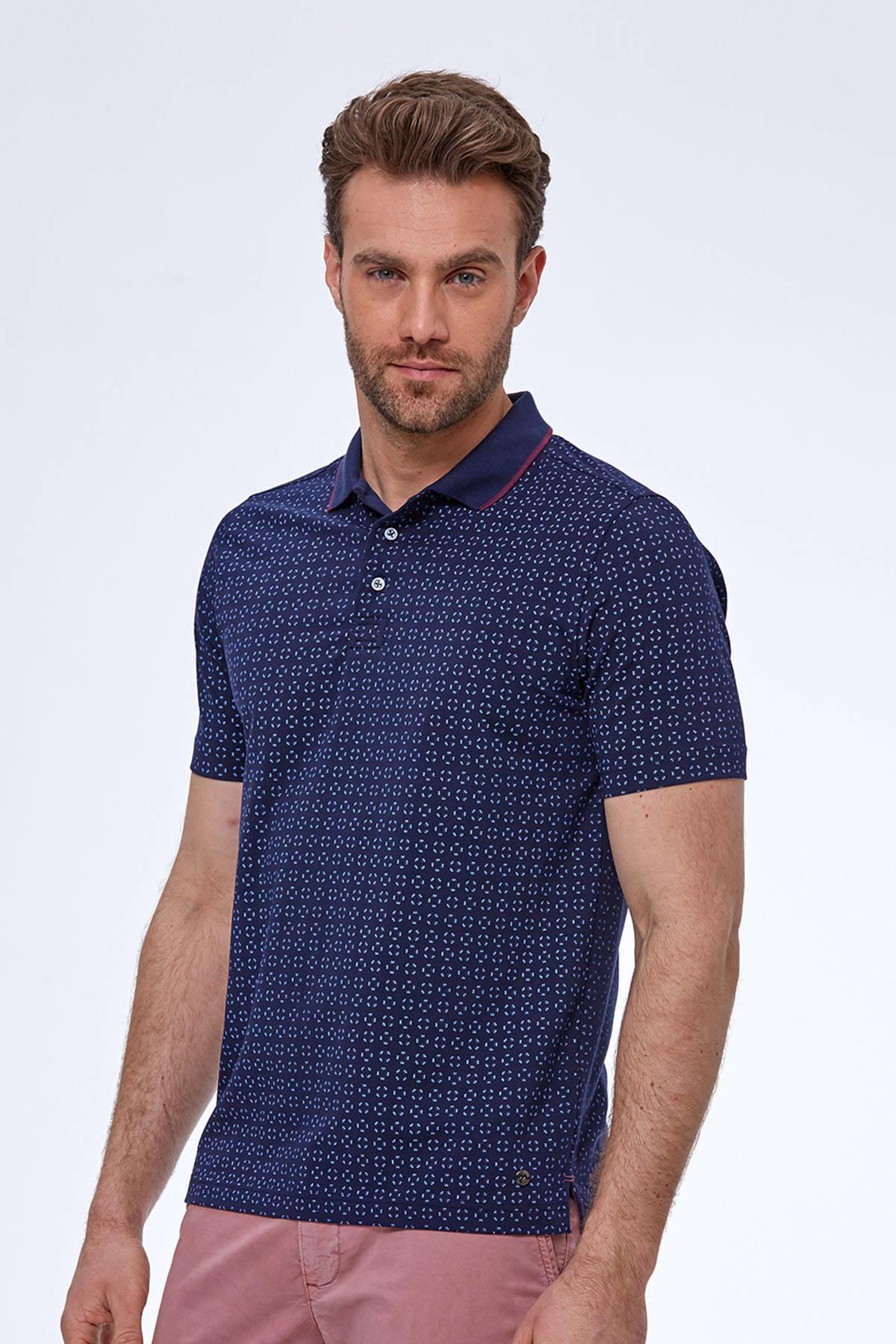 Desenli Lacivert Polo Yaka T-Shirt
