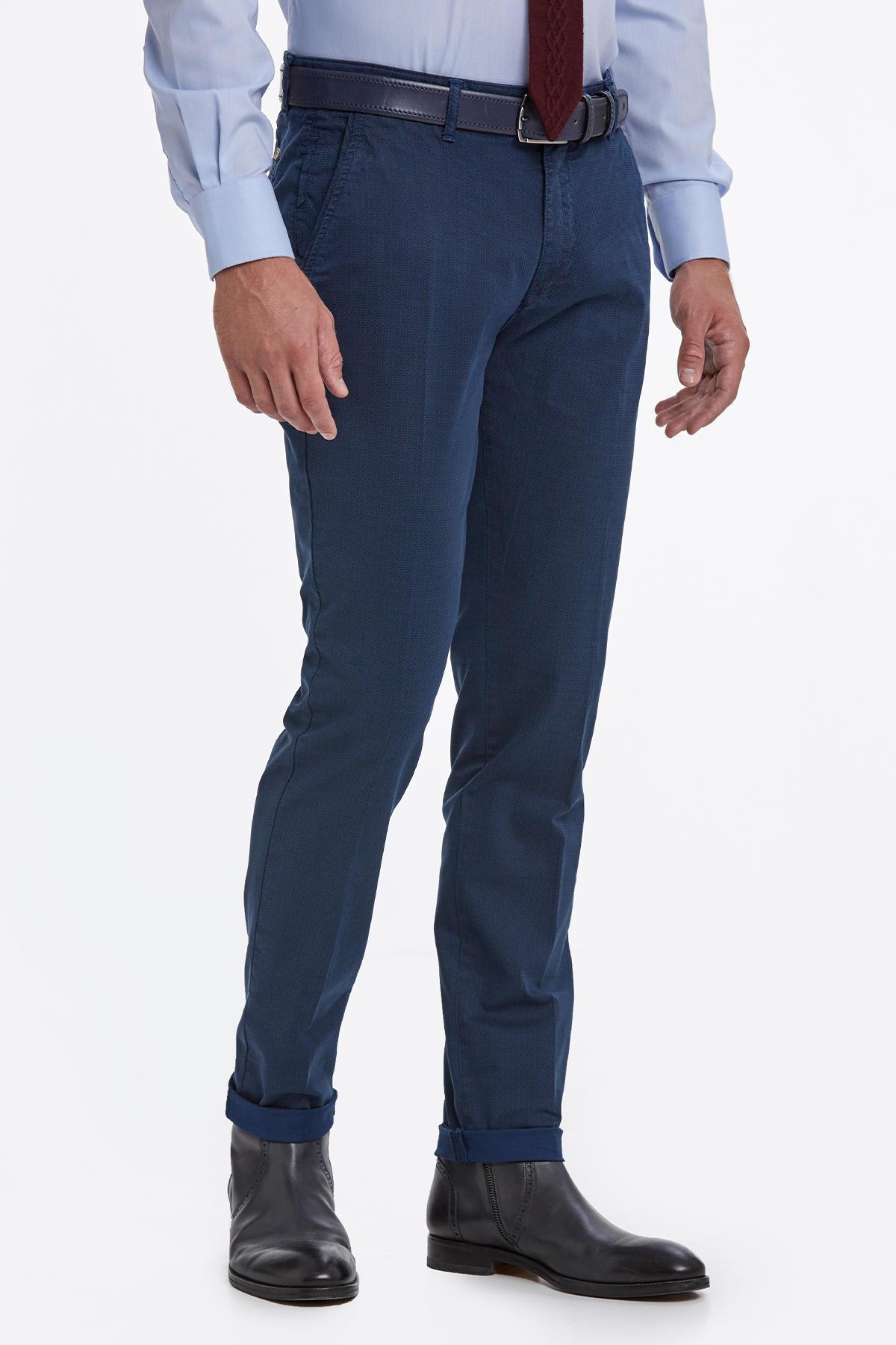 Desenli Mavi Pamuk Chino Pantolon